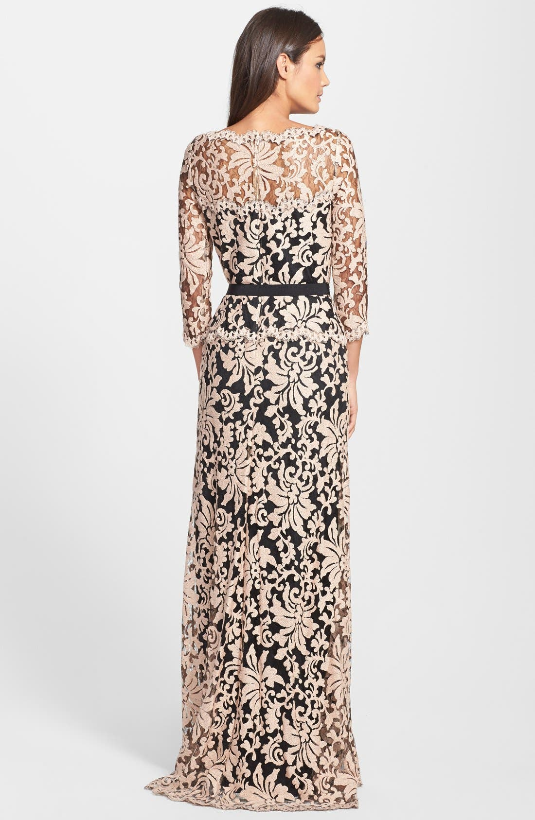 Alternate Image 2  - Tadashi Shoji Belted Embroidered Lace Gown (Regular & Petite)