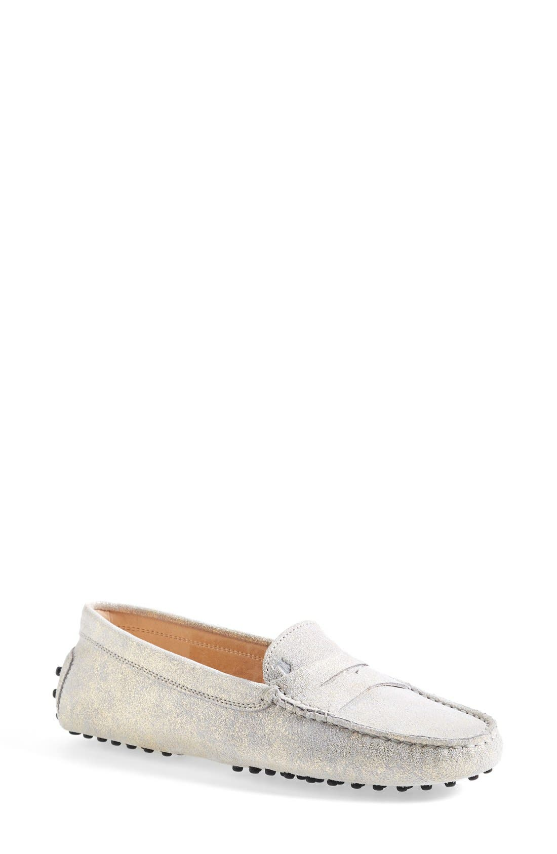 Alternate Image 1 Selected - Tod's 'Gommini' Metallic Suede Penny Loafer (Women)