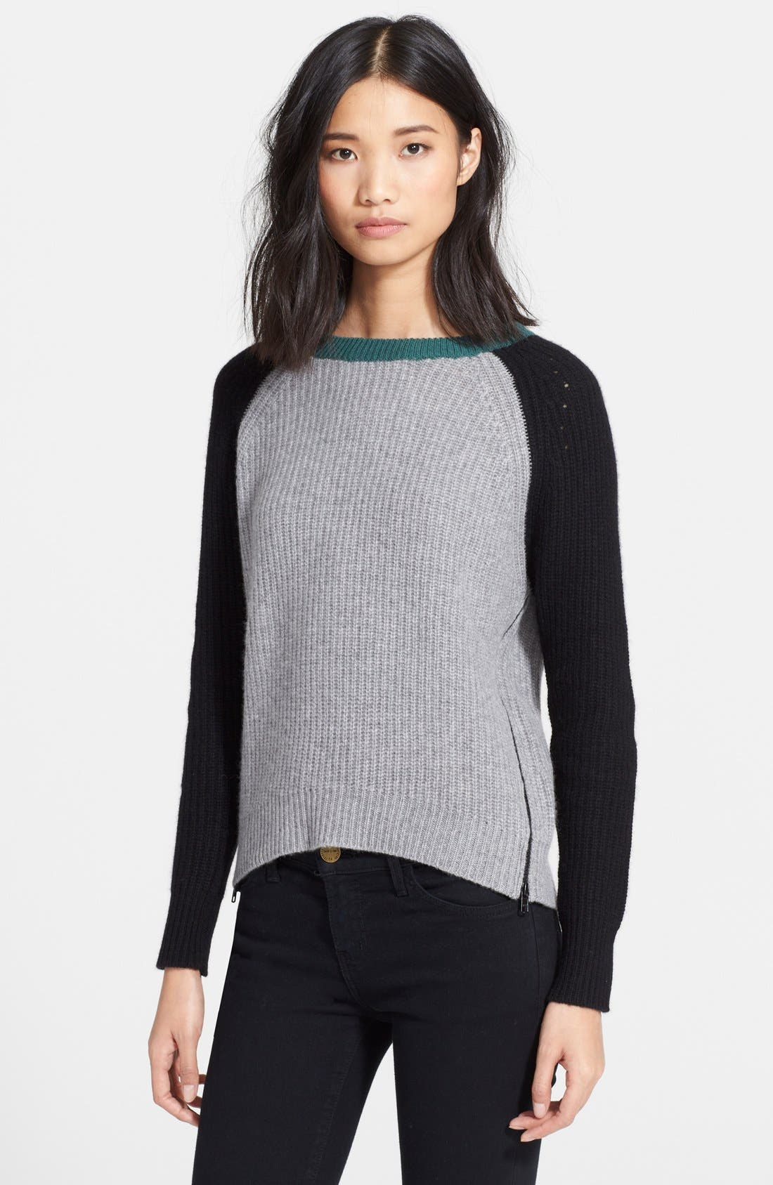 Alternate Image 1 Selected - autumn cashmere Elbow Patch Chunky Cashmere Knit Sweater
