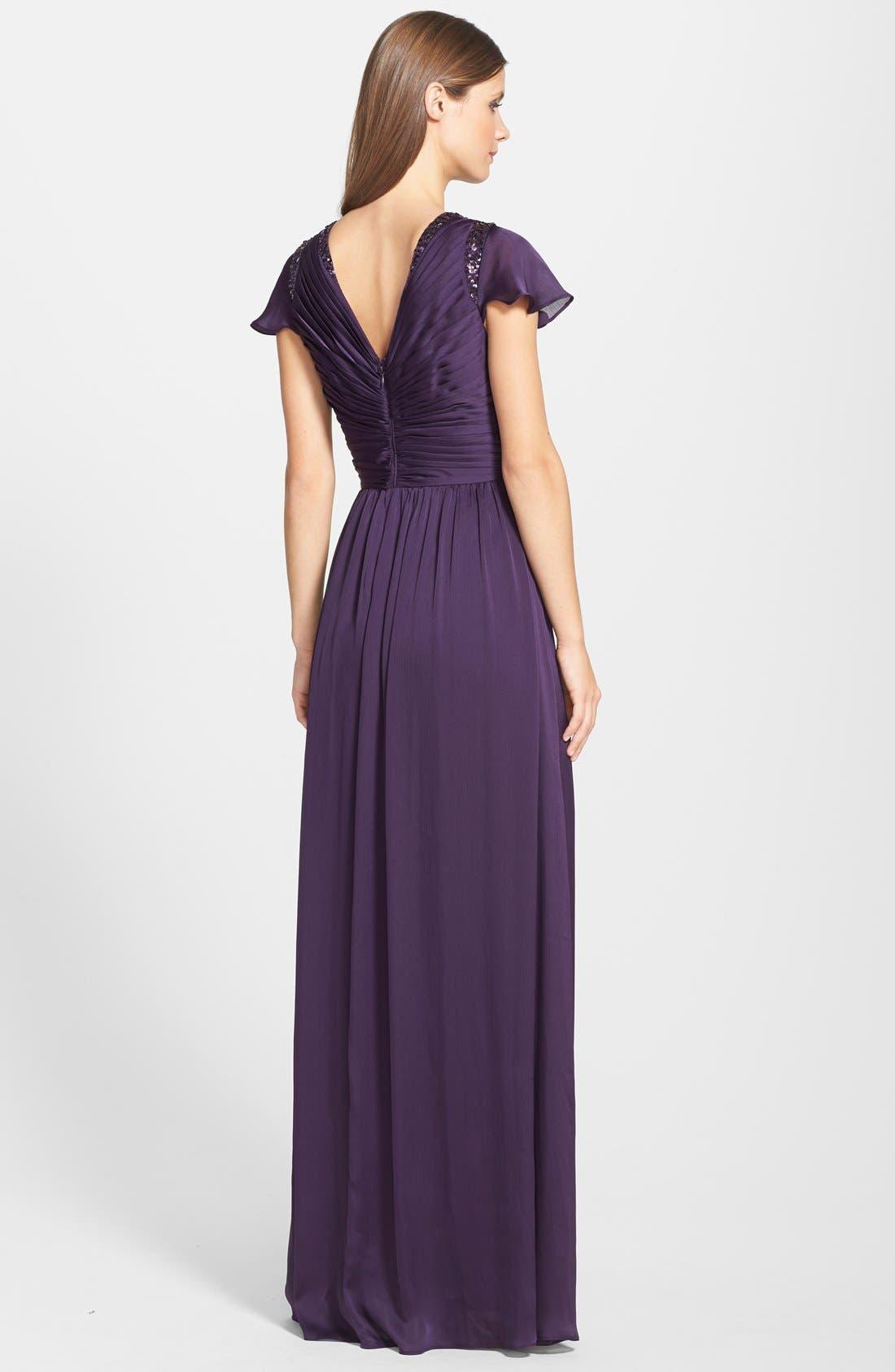 Alternate Image 2  - Adrianna Papell Sequin Shoulder Pleat Detail Chiffon Gown (Regular & Petite)