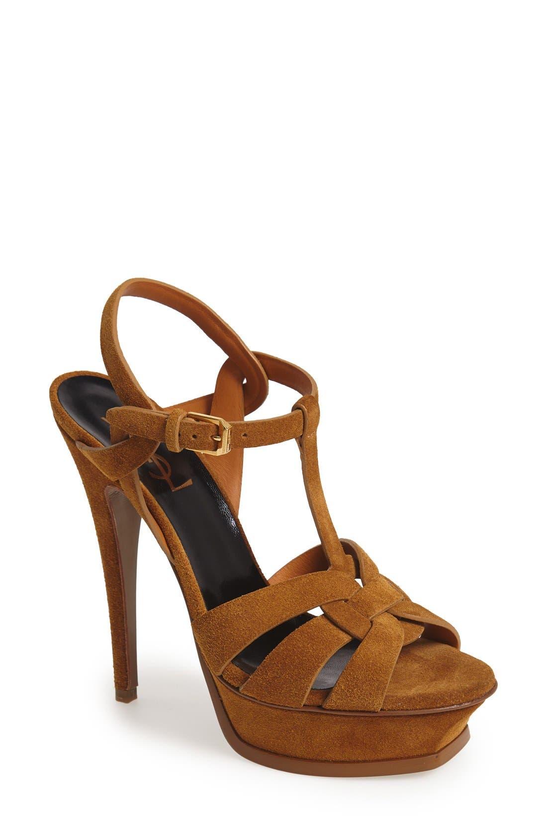 Main Image - Saint Laurent 'Tribute' Suede T-Strap Sandal (Women)