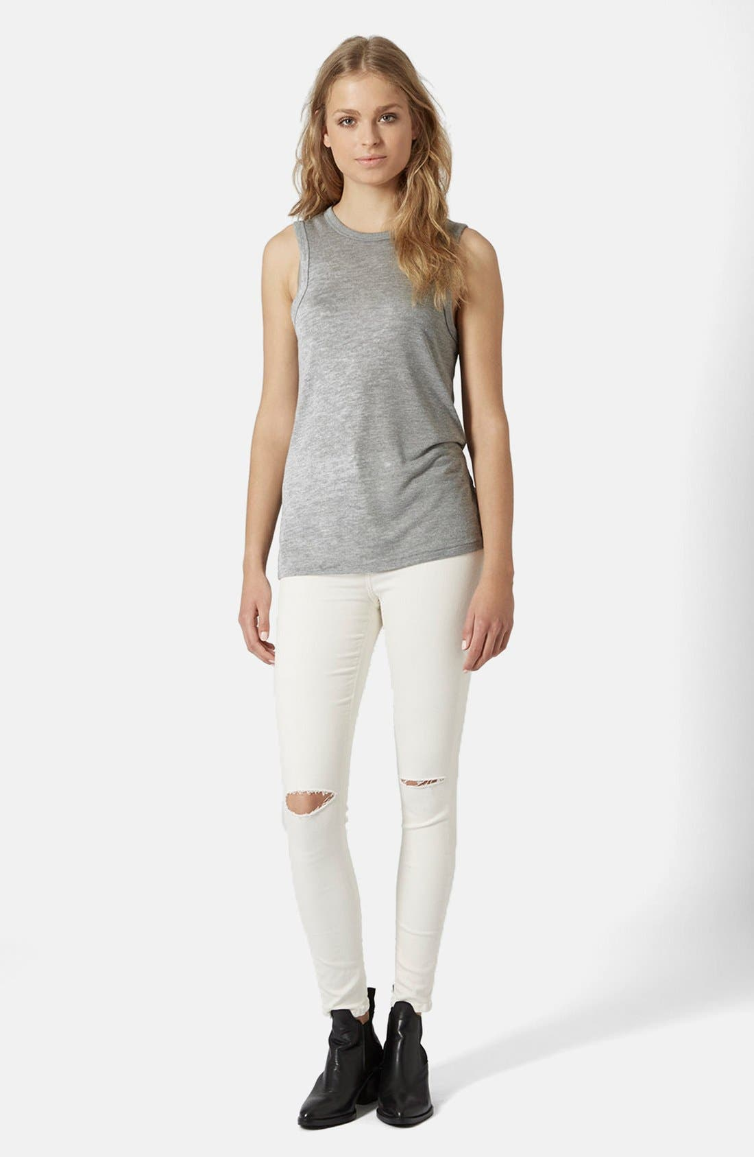 Alternate Image 5  - Topshop Moto 'Jamie' Ripped Jeans (White)