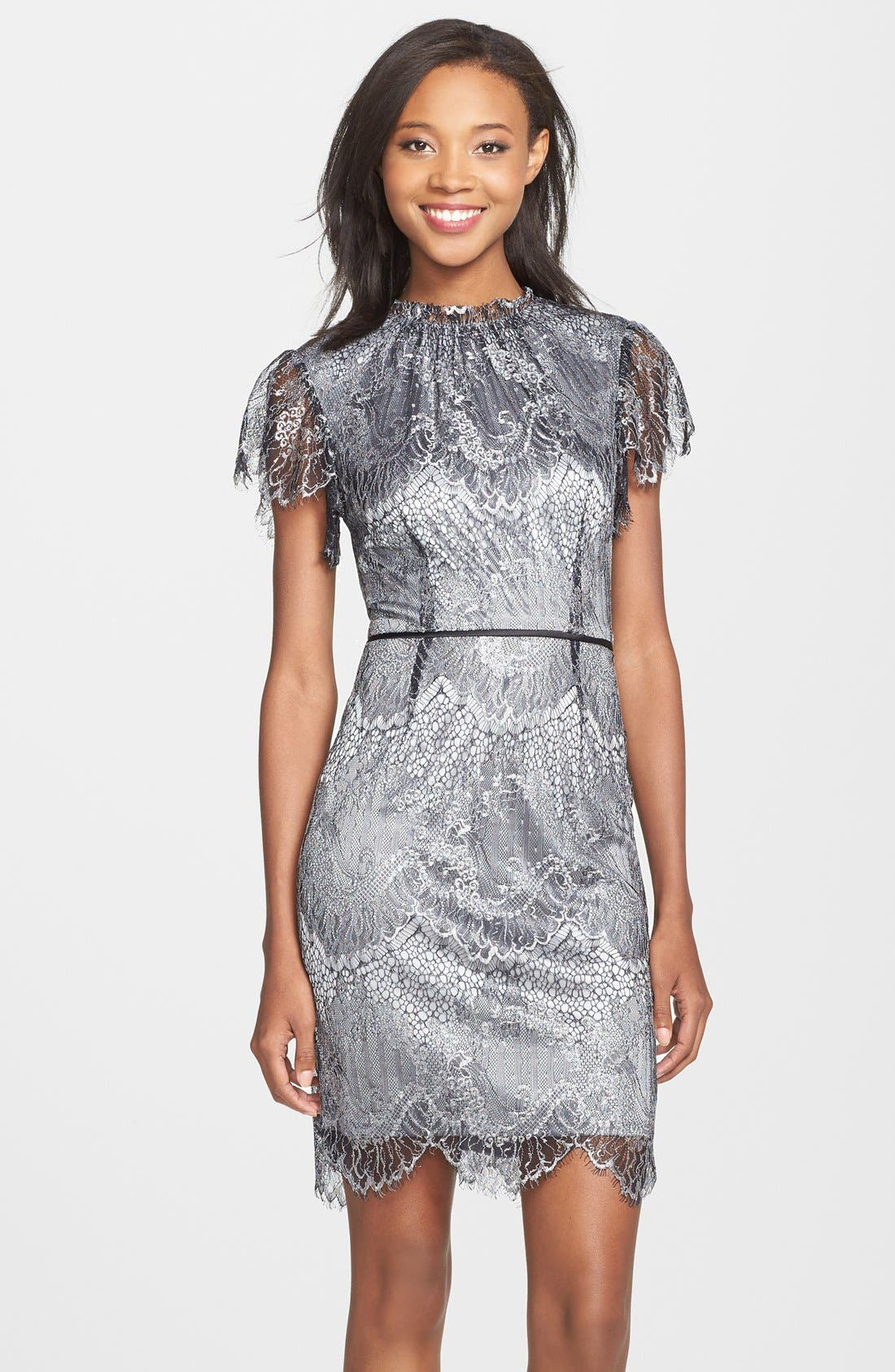 Alternate Image 1 Selected - Adrianna Papell Metallic Lace Gathered Neck Sheath Dress