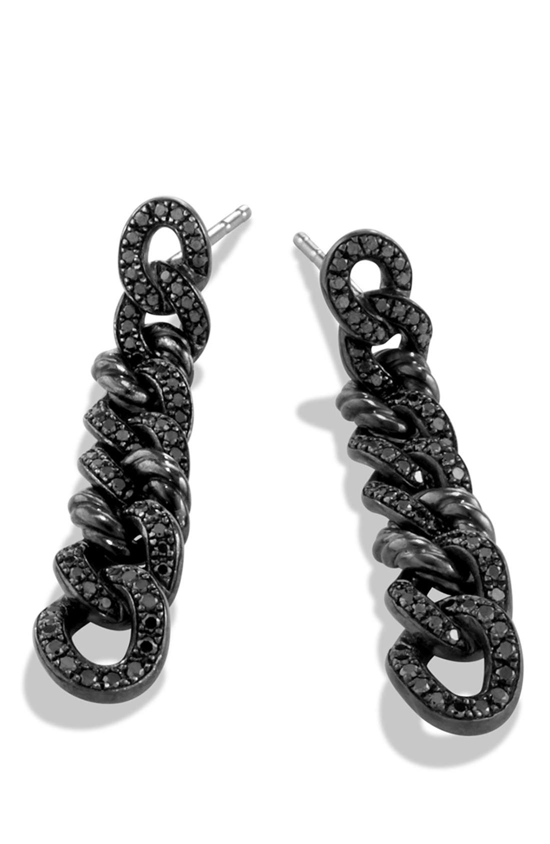 Alternate Image 2  - David Yurman 'Petite Pavé' Curb Chain Earrings with Black Diamonds