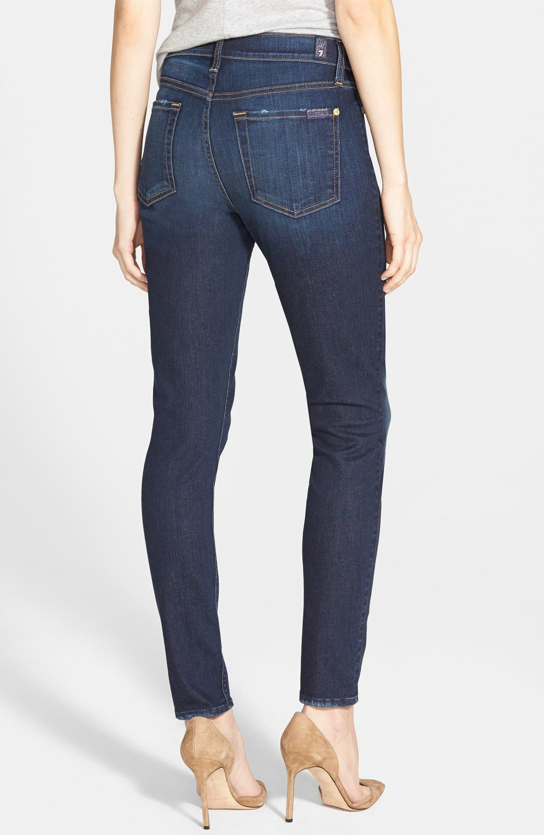 Alternate Image 2  - 7 for All Mankind® Mid Rise Ankle Skinny Jeans (Dark Royal Rinse)