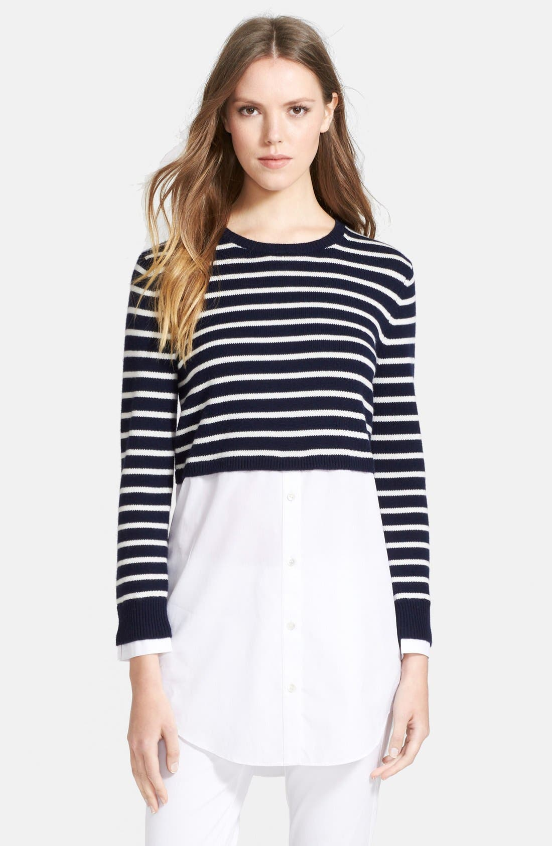 Alternate Image 1 Selected - Theory 'Rymalia' Stripe Crop Cotton & Cashmere Sweater with Poplin Underlay