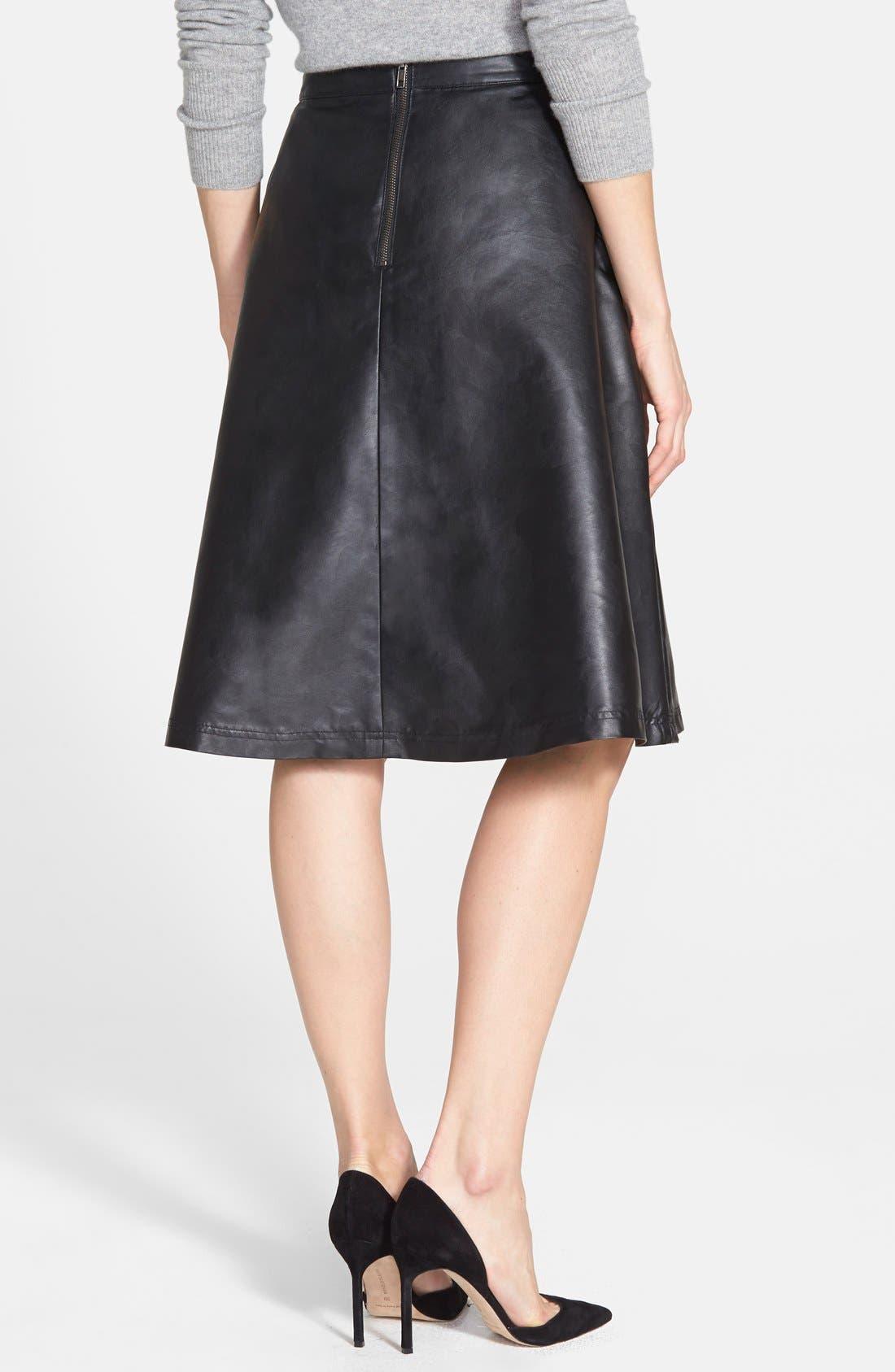 Alternate Image 3  - Halogen® Faux Leather A-Line Skirt (Regular & Petite)