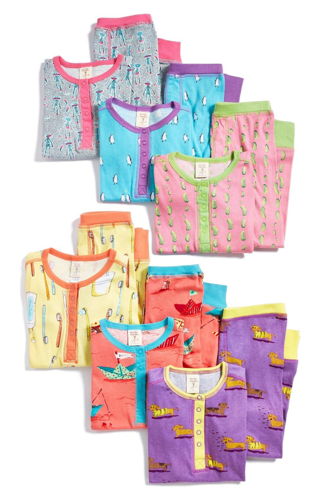 Main Image - Munki Munki Two-Piece Fitted Pajamas (Toddler Girls & Little Girls)