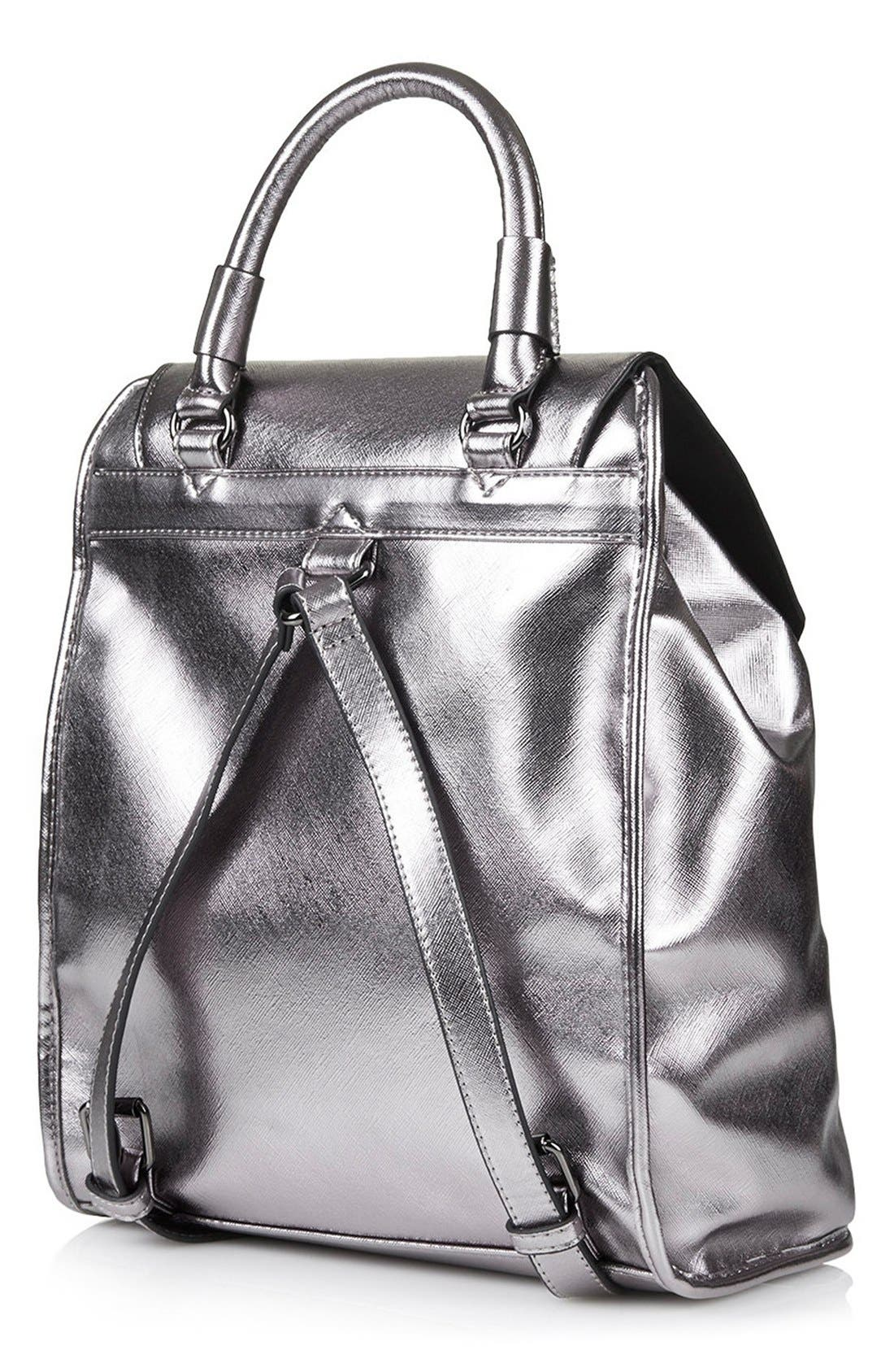 Alternate Image 4  - Topshop Metallic Faux Leather Backpack