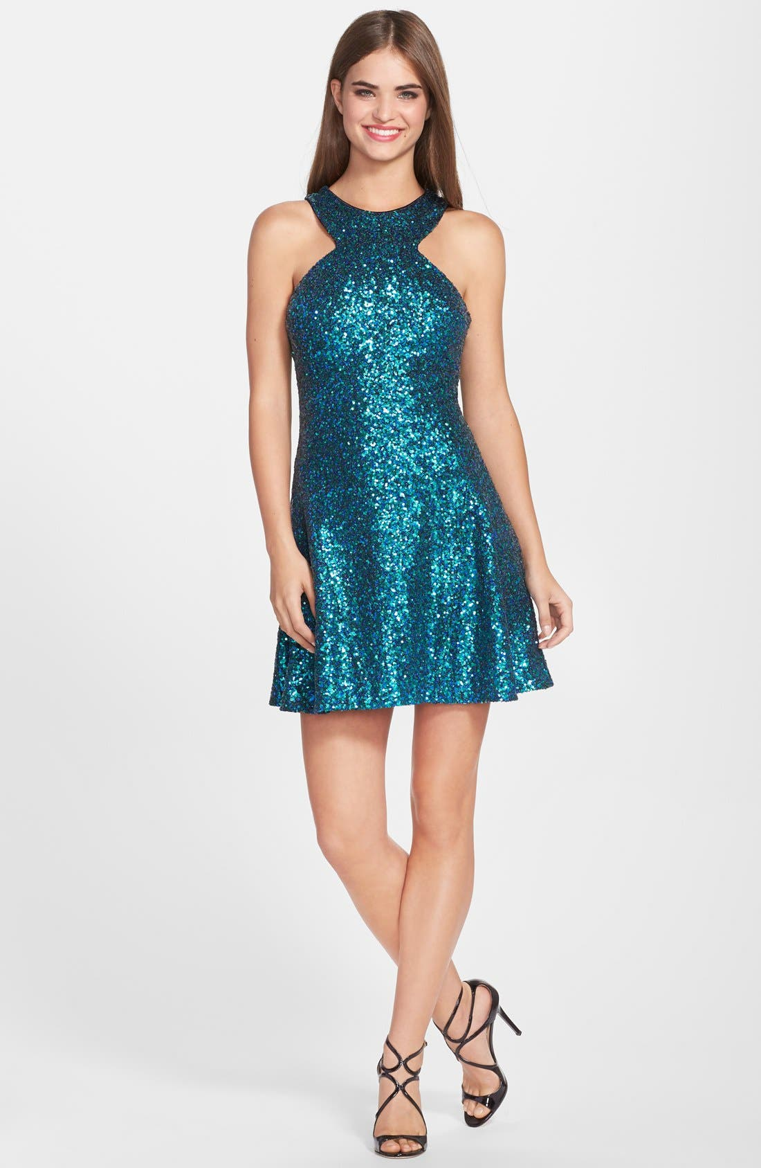 Alternate Image 3  - Dress the Population 'Helene' Sequin Fit & Flare Dress