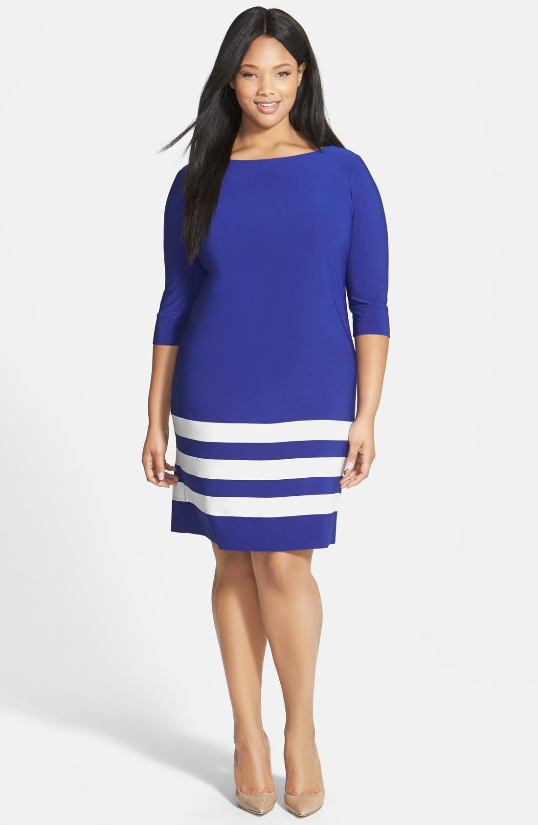 Alternate Image 1 Selected - ABS by Allen Schwartz Stripe Hem T-Shirt Dress (Plus Size)