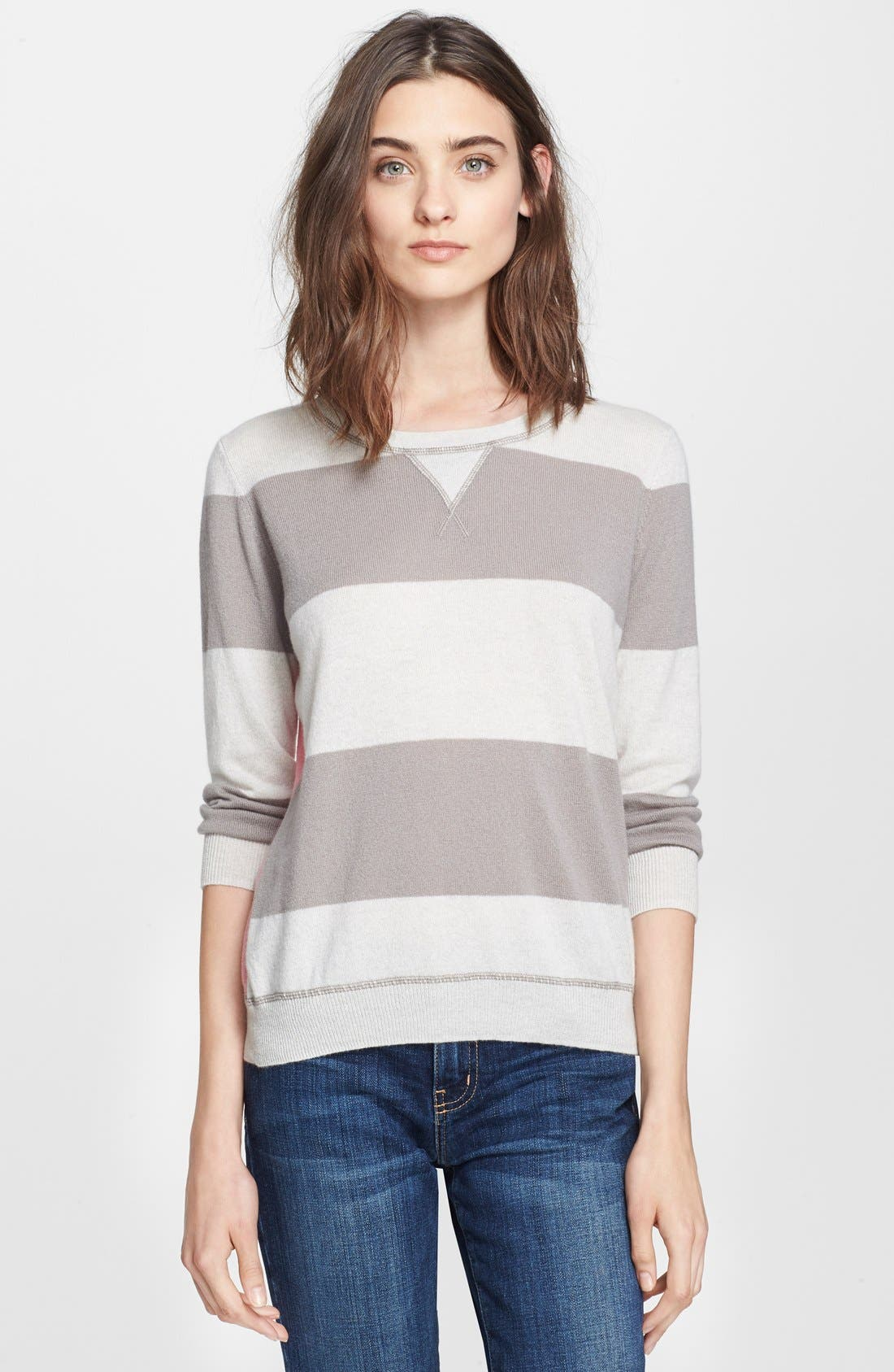 Main Image - autumn cashmere Stripe & Solid Cashmere Sweatshirt