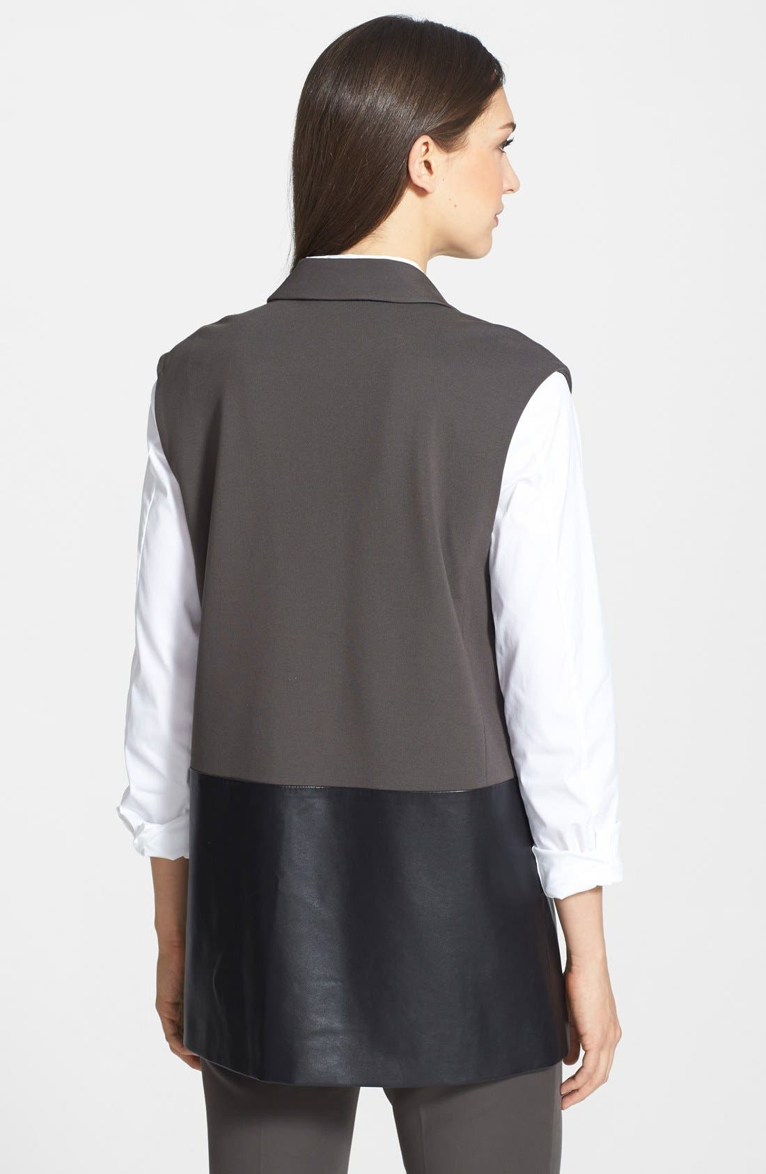 Alternate Image 2  - Lafayette 148 New York Faux Leather & Punto Milano Vest