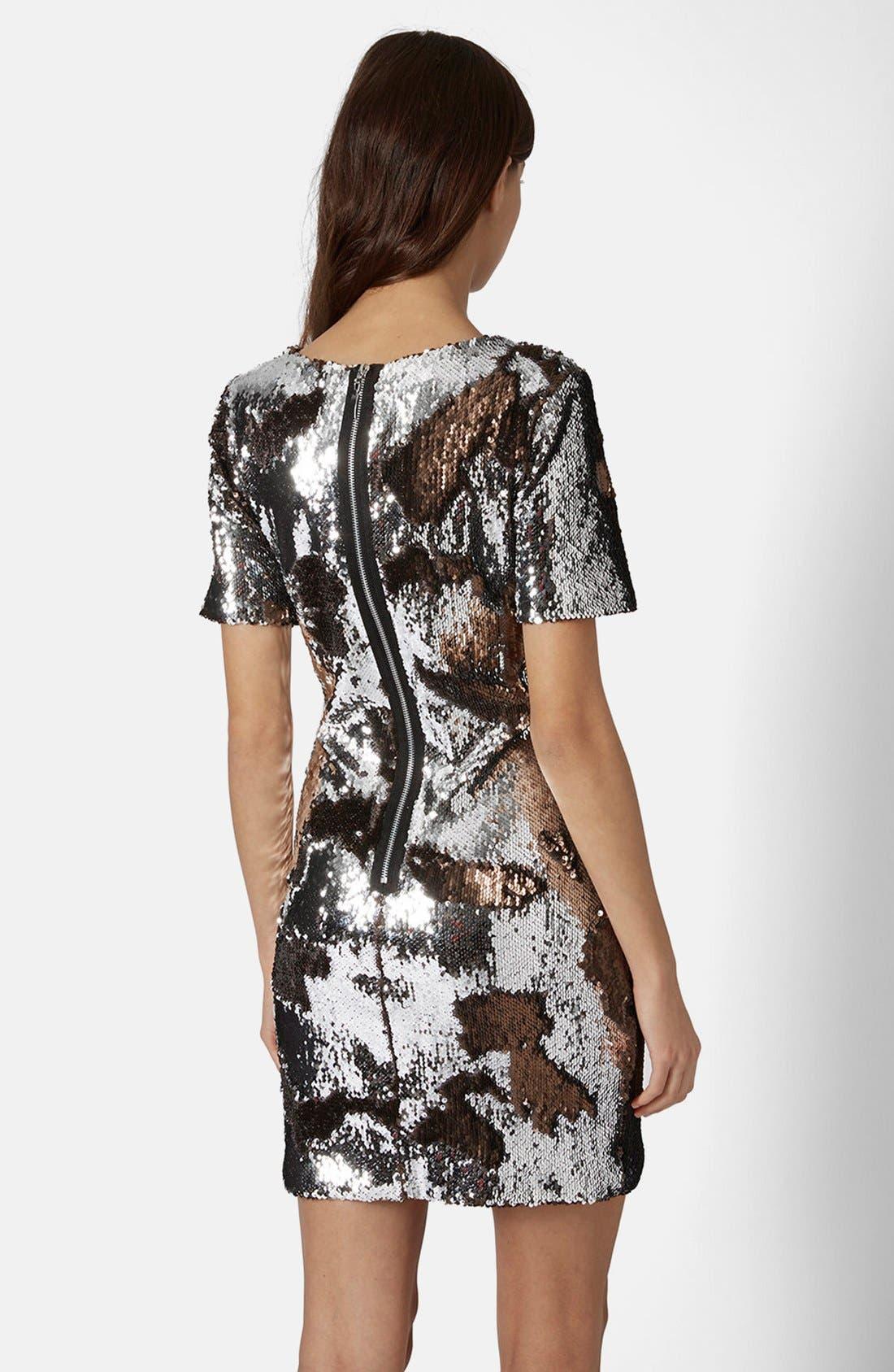 Alternate Image 2  - Topshop Metallic Sequin Body-Con Dress (Regular & Petite)