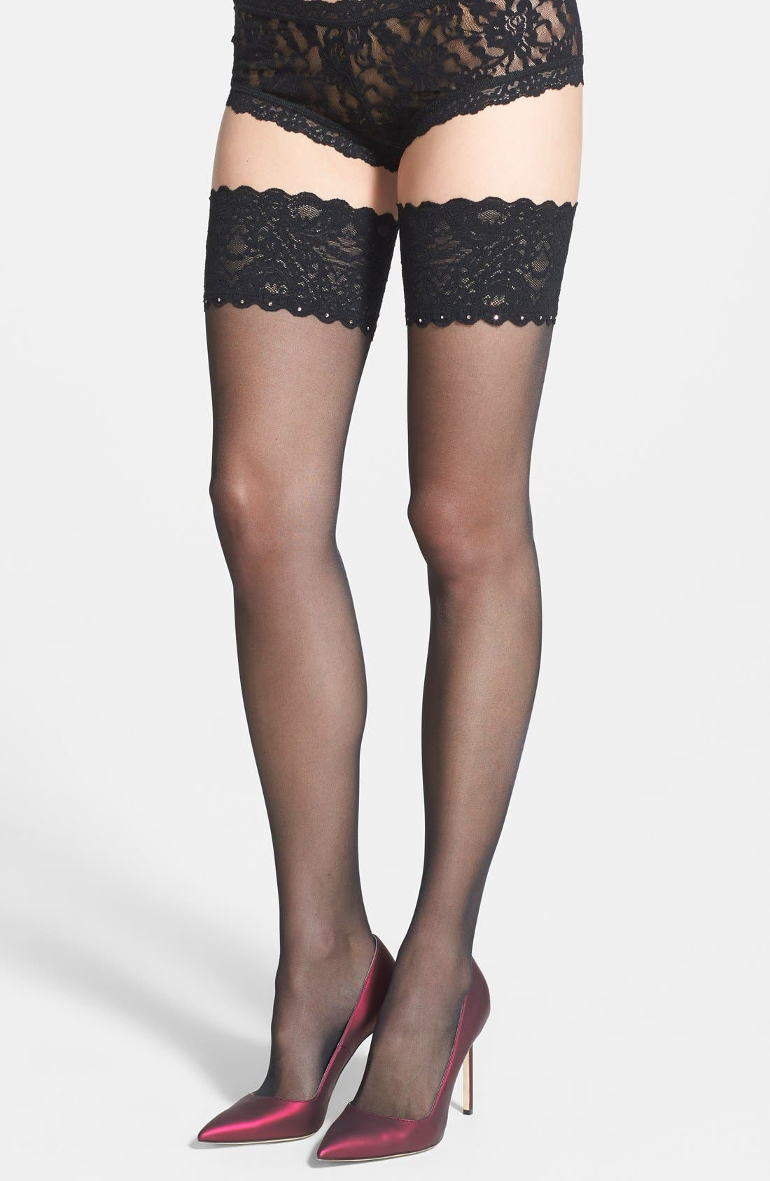 Main Image - Wolford Embellished Thigh High Tights