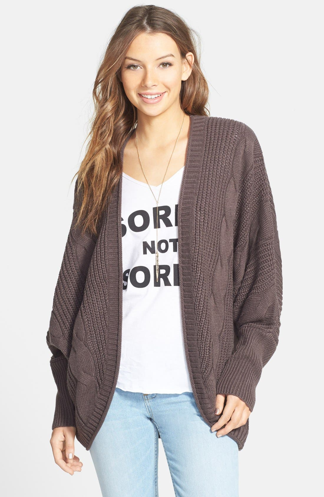 Alternate Image 1 Selected - Sun & Shadow Cable Knit Cardigan (Juniors)