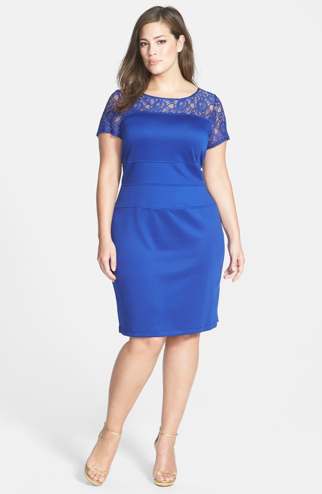 Alternate Image 1 Selected - Gabby Skye Lace Yoke Sheath Dress (Plus Size)