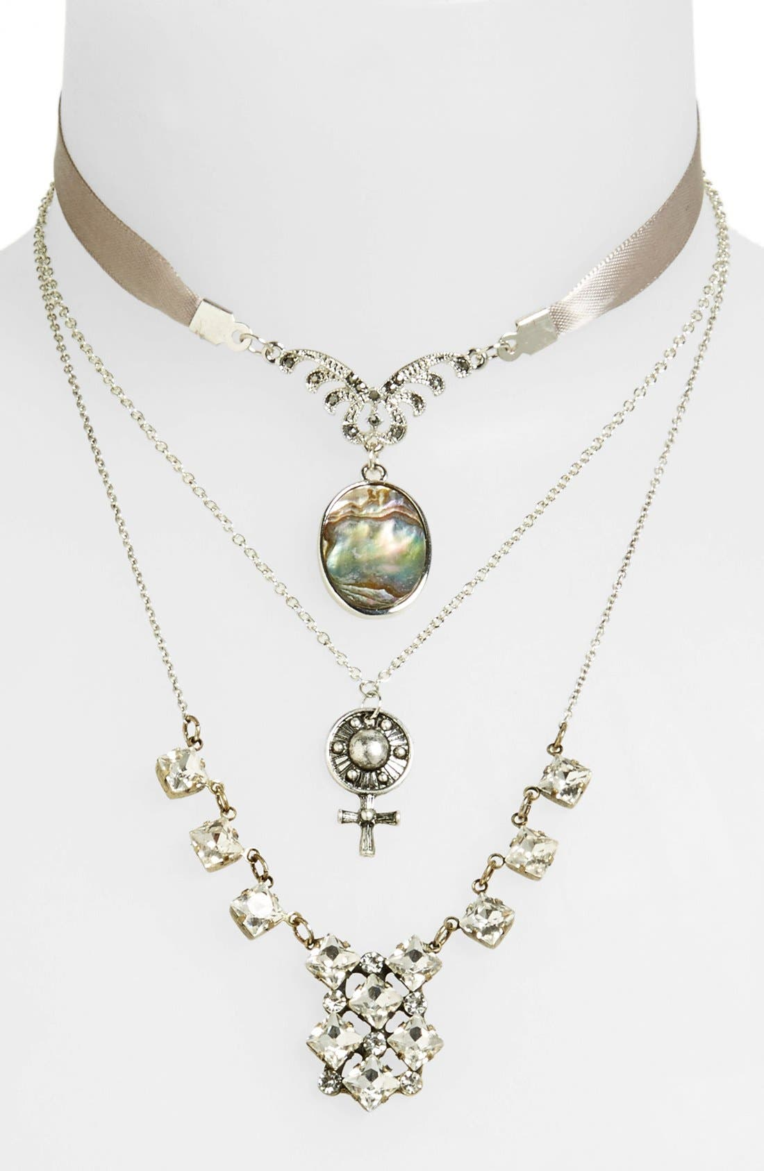Alternate Image 1 Selected - Topshop Abalone Charm Necklaces (3-Pack)