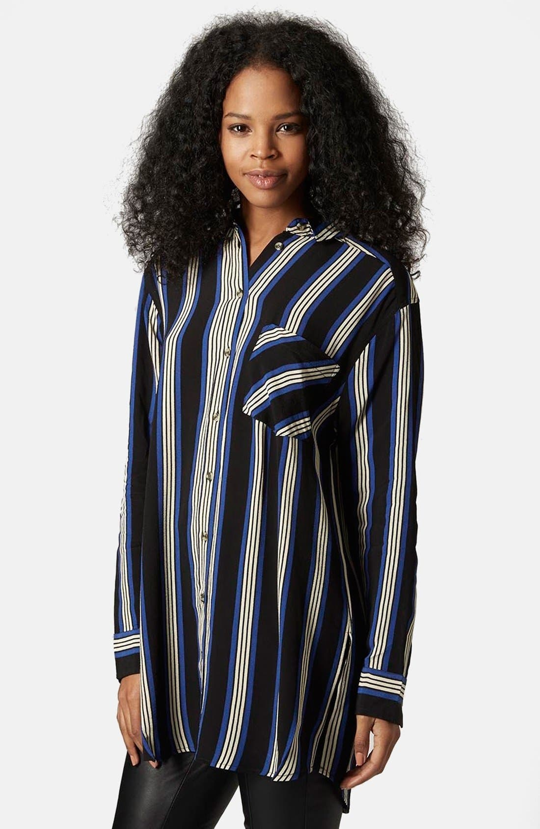 Alternate Image 1 Selected - Topshop Oversize Stripe Shirt