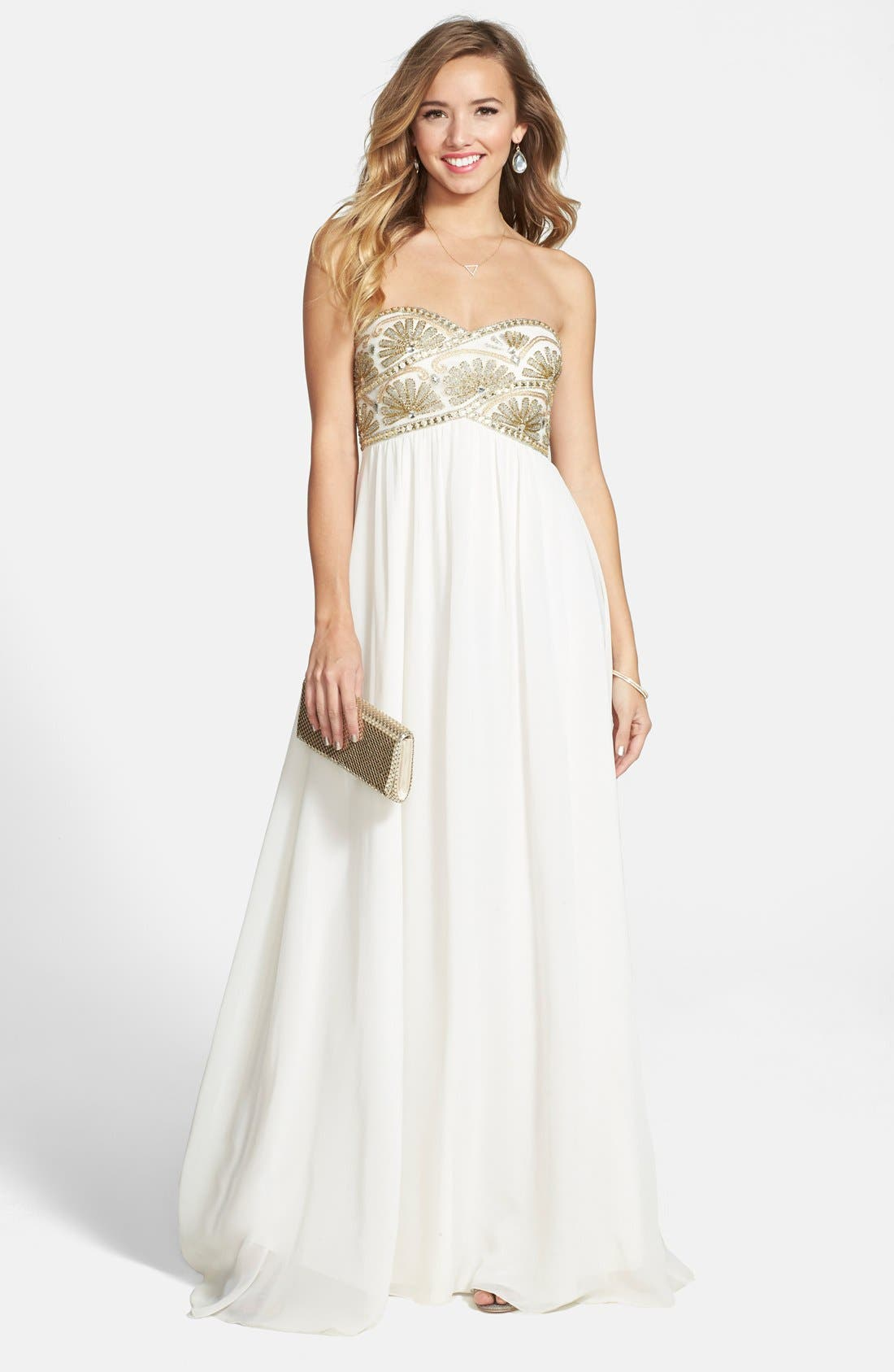 Alternate Image 1 Selected - JS Collections Beaded Empire Waist Chiffon Gown