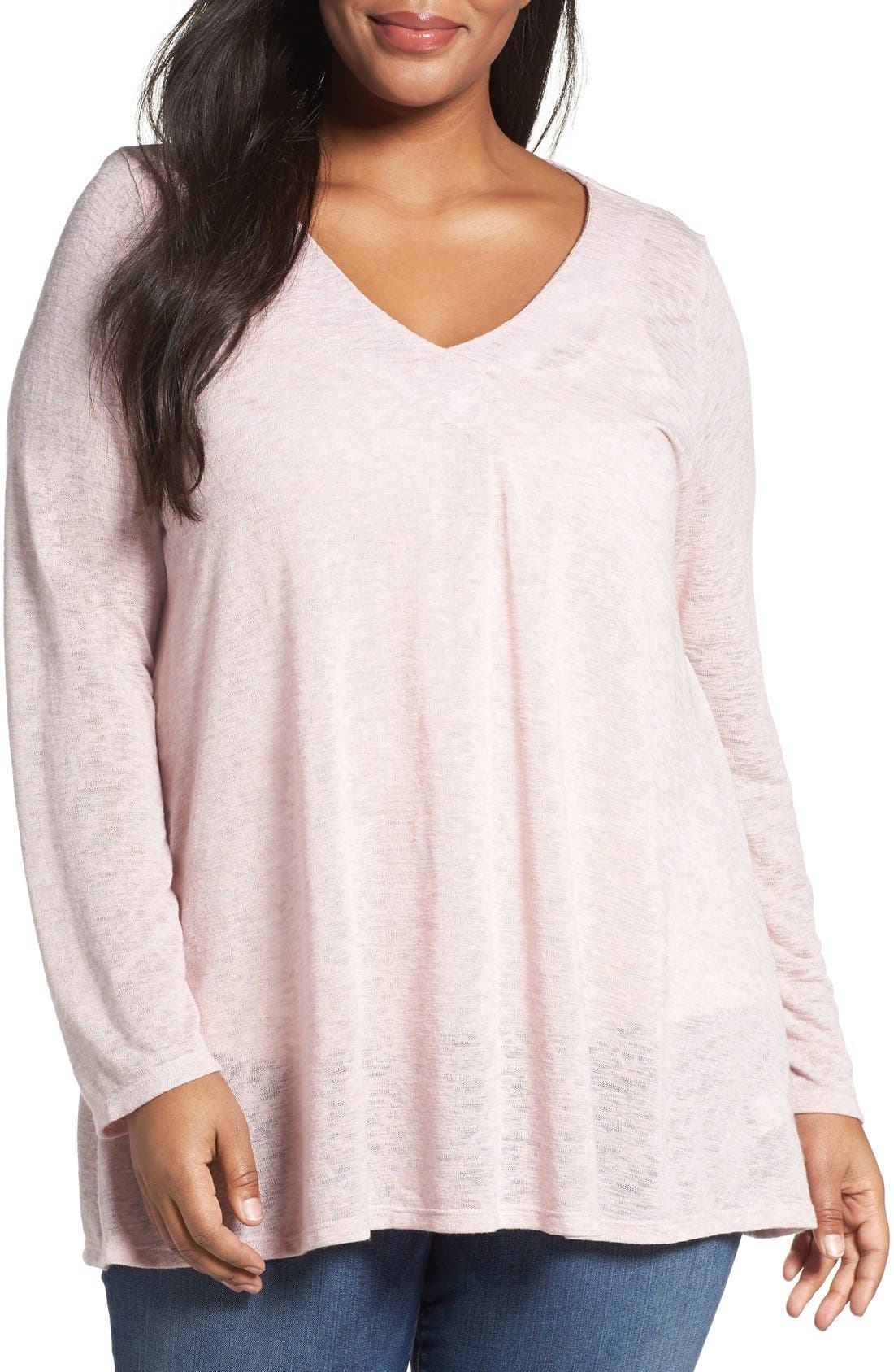 Bobeau Pleat Front Slub Knit Sweater (Plus Size)