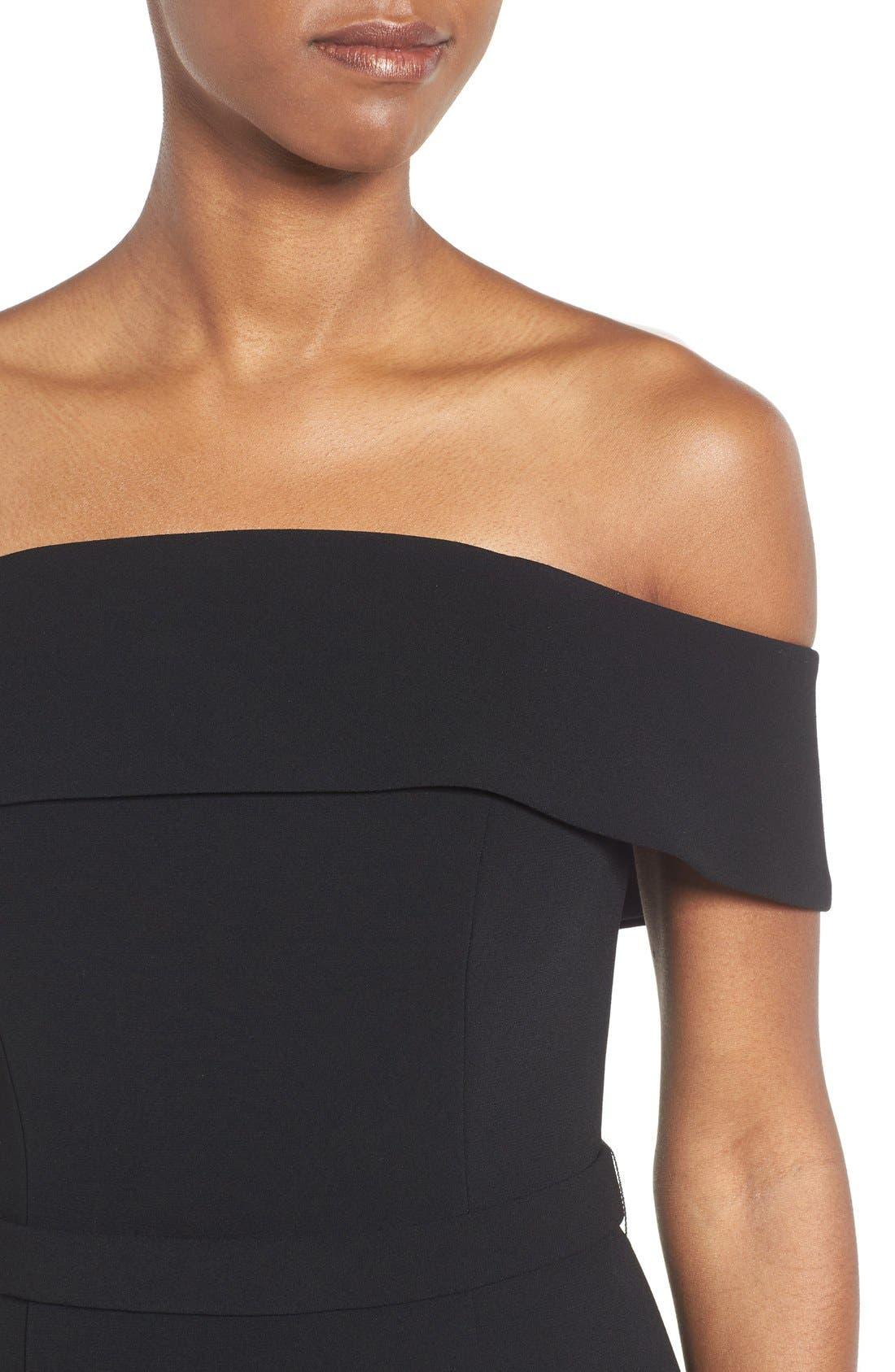 Alternate Image 4  - BOSS Diany Off the Shoulder Bonded Crepe Cocktail Dress
