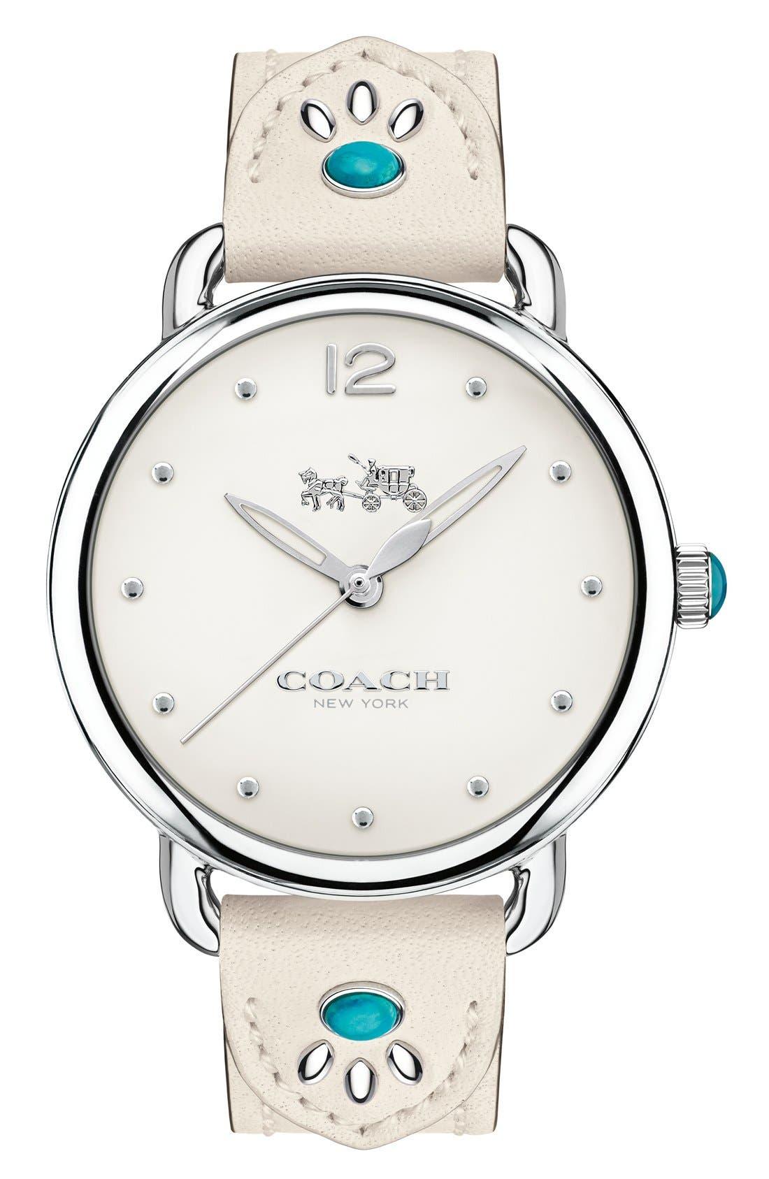 COACH Delancey Leather Strap Watch, 36mm
