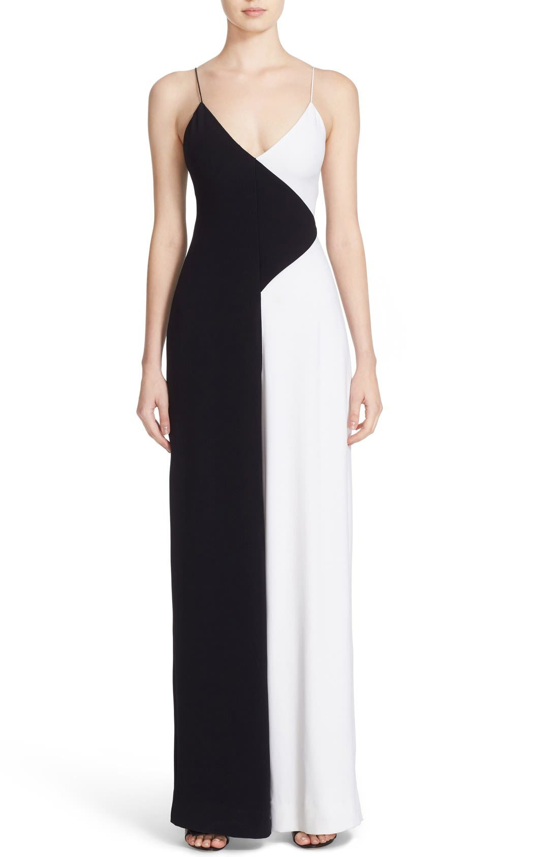 CUSHNIE ET OCHS Colorblock Wide Leg Jumpsuit