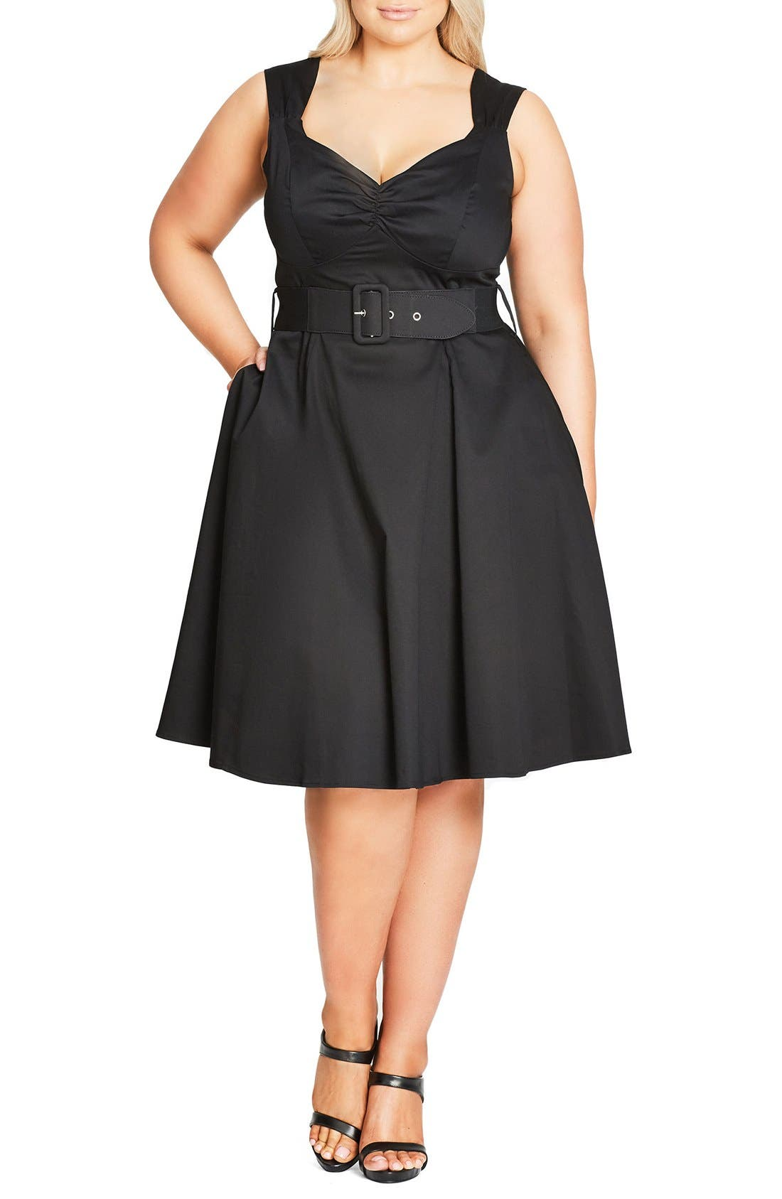 CITY CHIC Pin Up Belted Fit & Flare