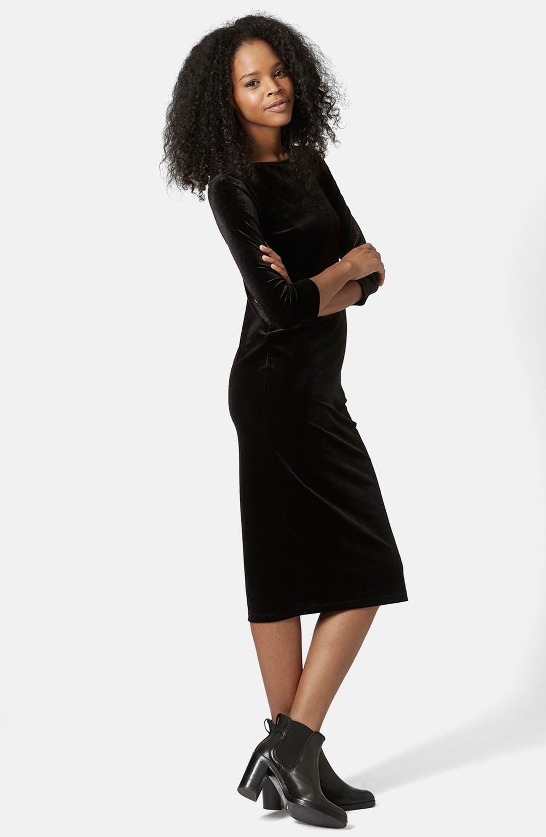 Main Image - Topshop Velvet Body-Con Dress