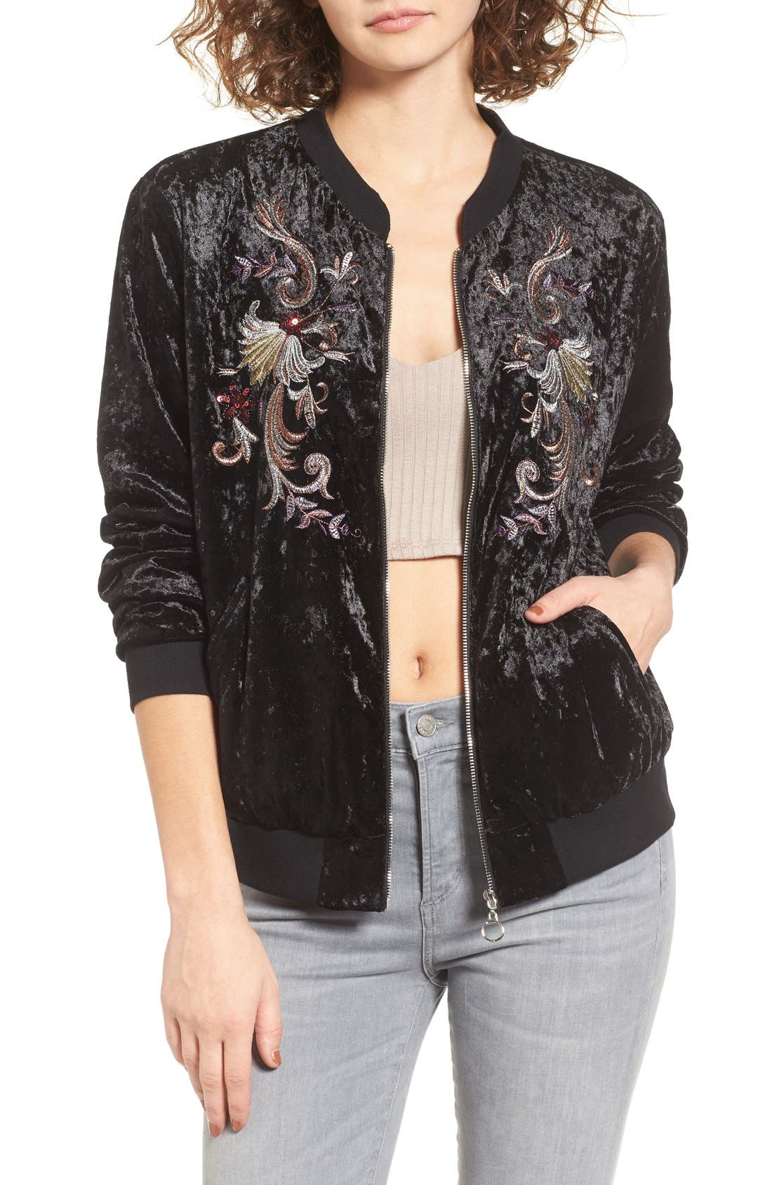Alternate Image 1 Selected - Somedays Lovin Erin Embellished Velvet Bomber Jacket