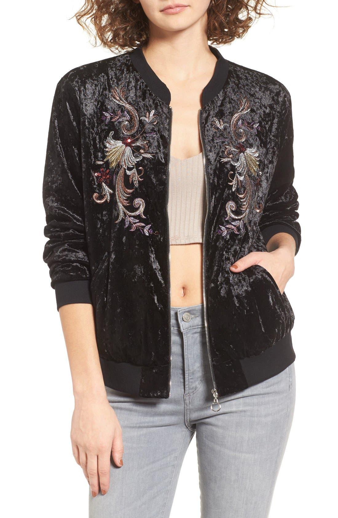 Main Image - Somedays Lovin Erin Embellished Velvet Bomber Jacket