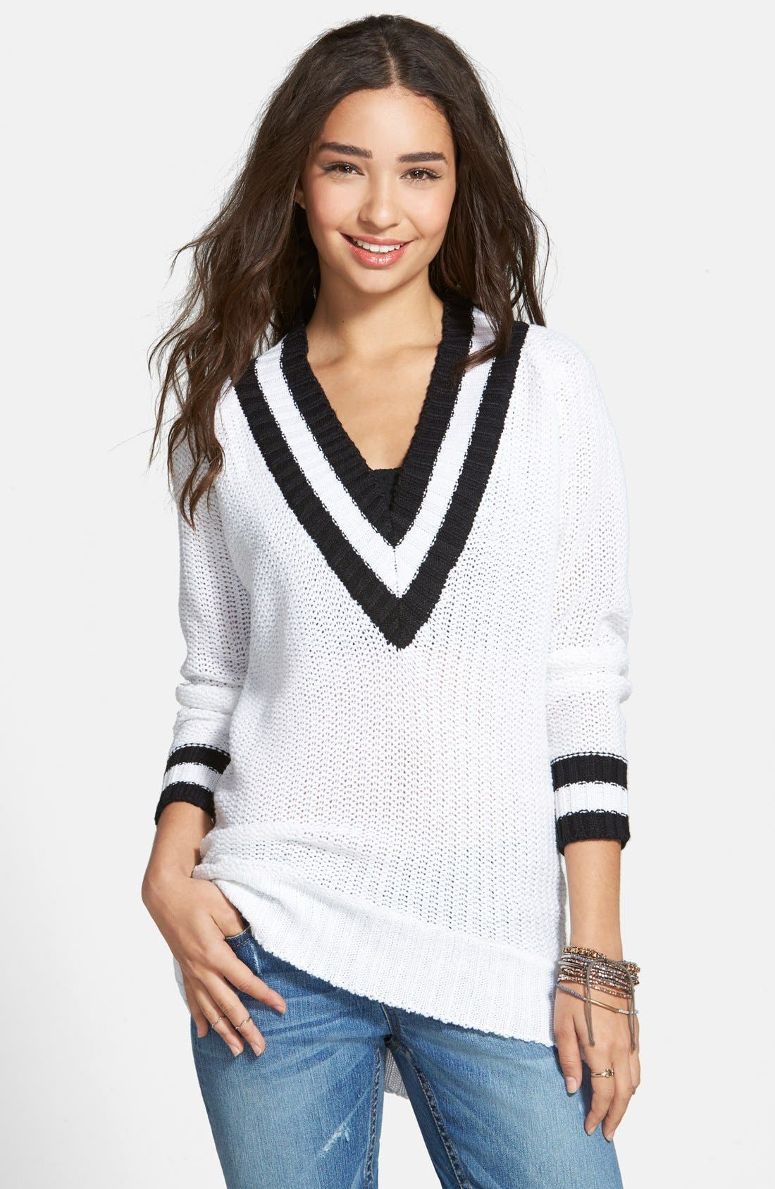 Main Image - Derek Heart Deep V-Neck Sweater (Juniors)