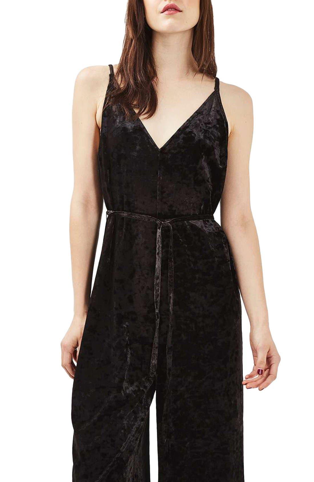 Main Image - Topshop Velvet Plunge Jumpsuit (Regular & Petite)