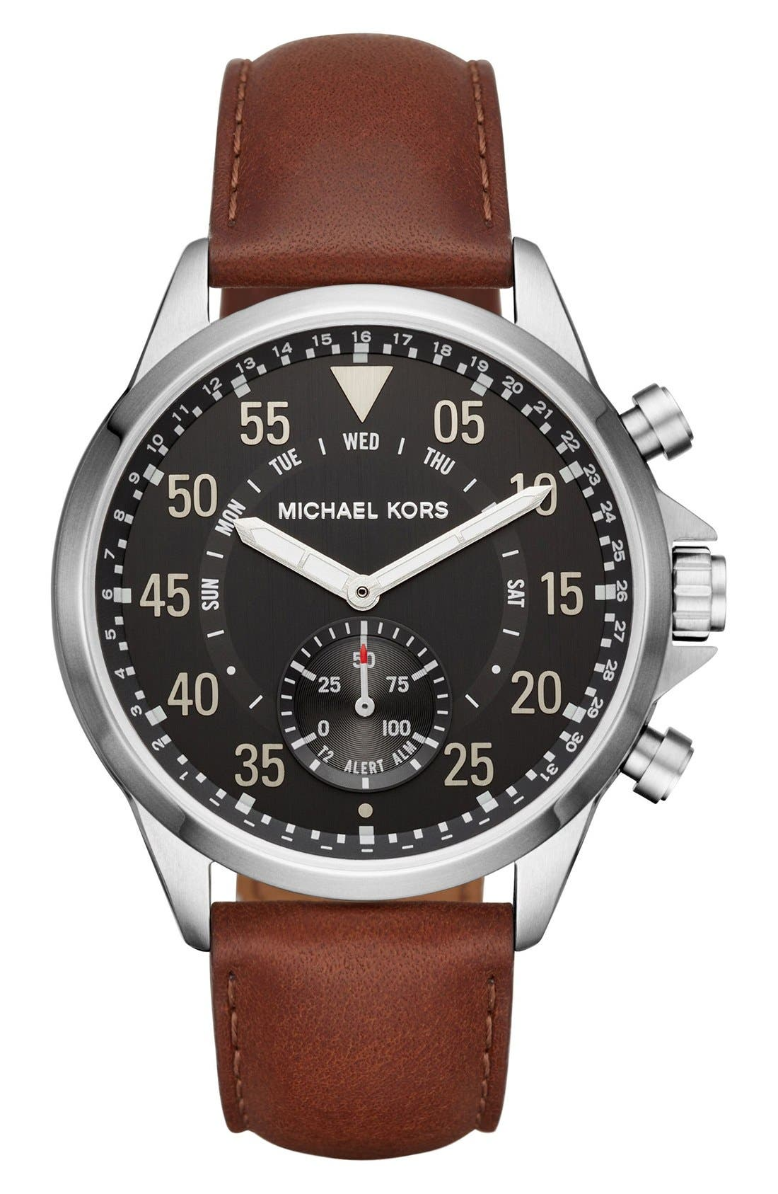 Michael Kors Gage Leather Strap Smart Watch, 45mm