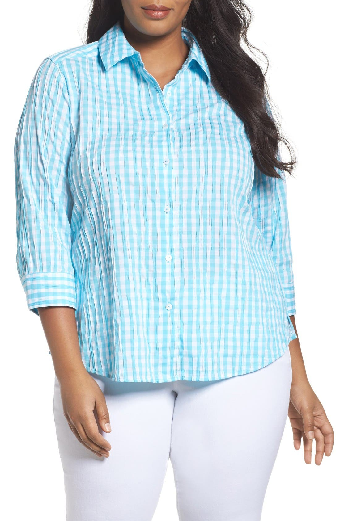 Foxcroft Gingham Shirt (Plus Size)