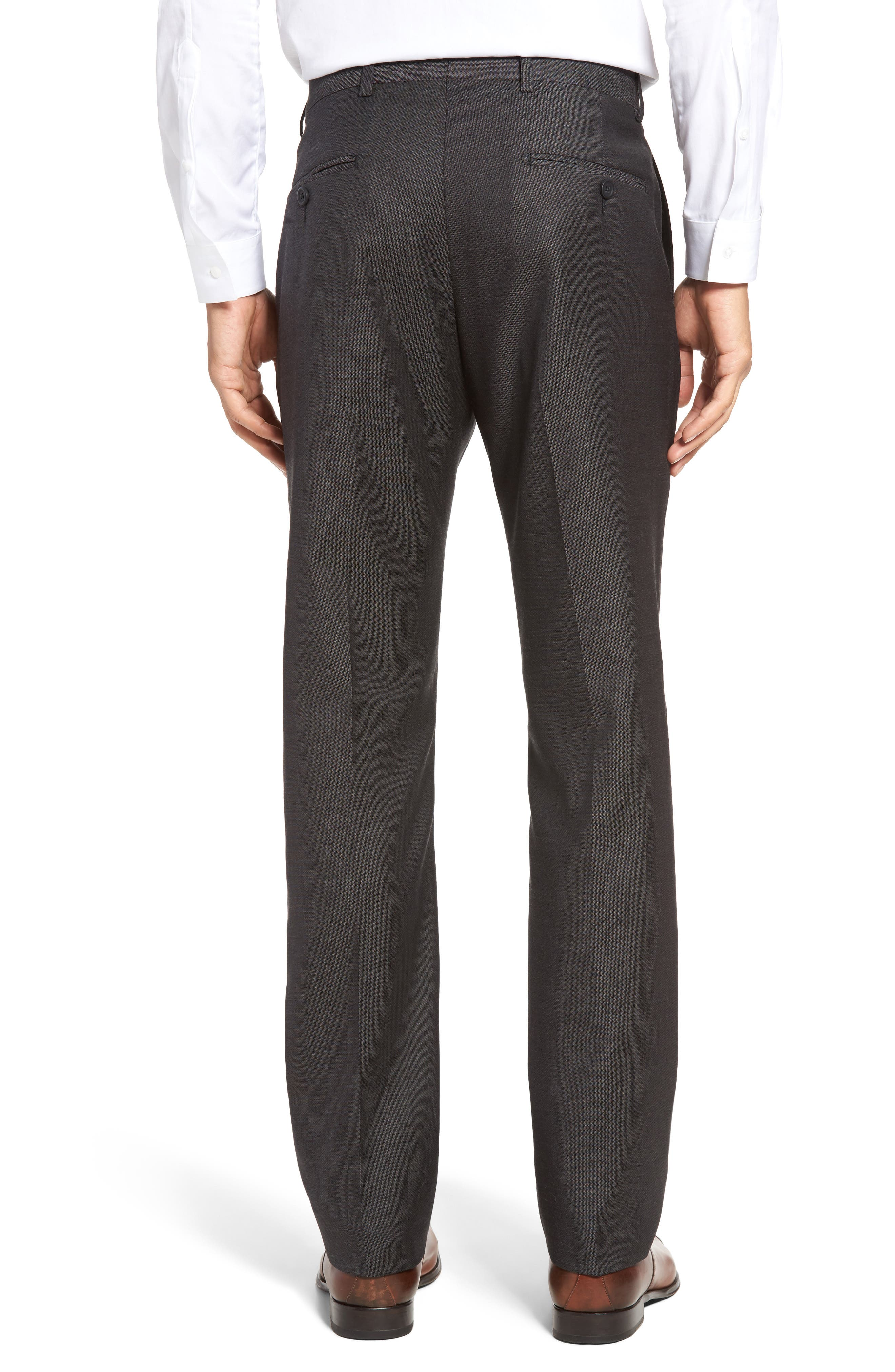 Alternate Image 2  - John W. Nordstrom® Flat Front Solid Wool Trousers