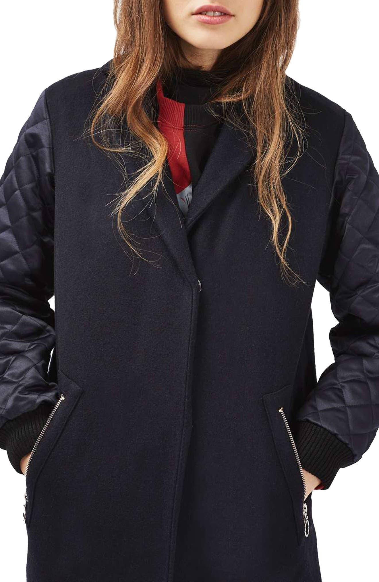 Alternate Image 3  - Topshop Quilted Sleeve Wool Blend Coat