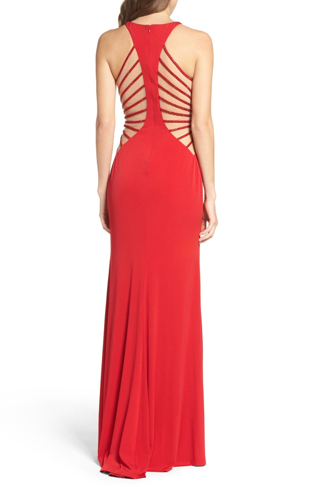 Alternate Image 2  - La Femme Illusion Back Jersey Gown