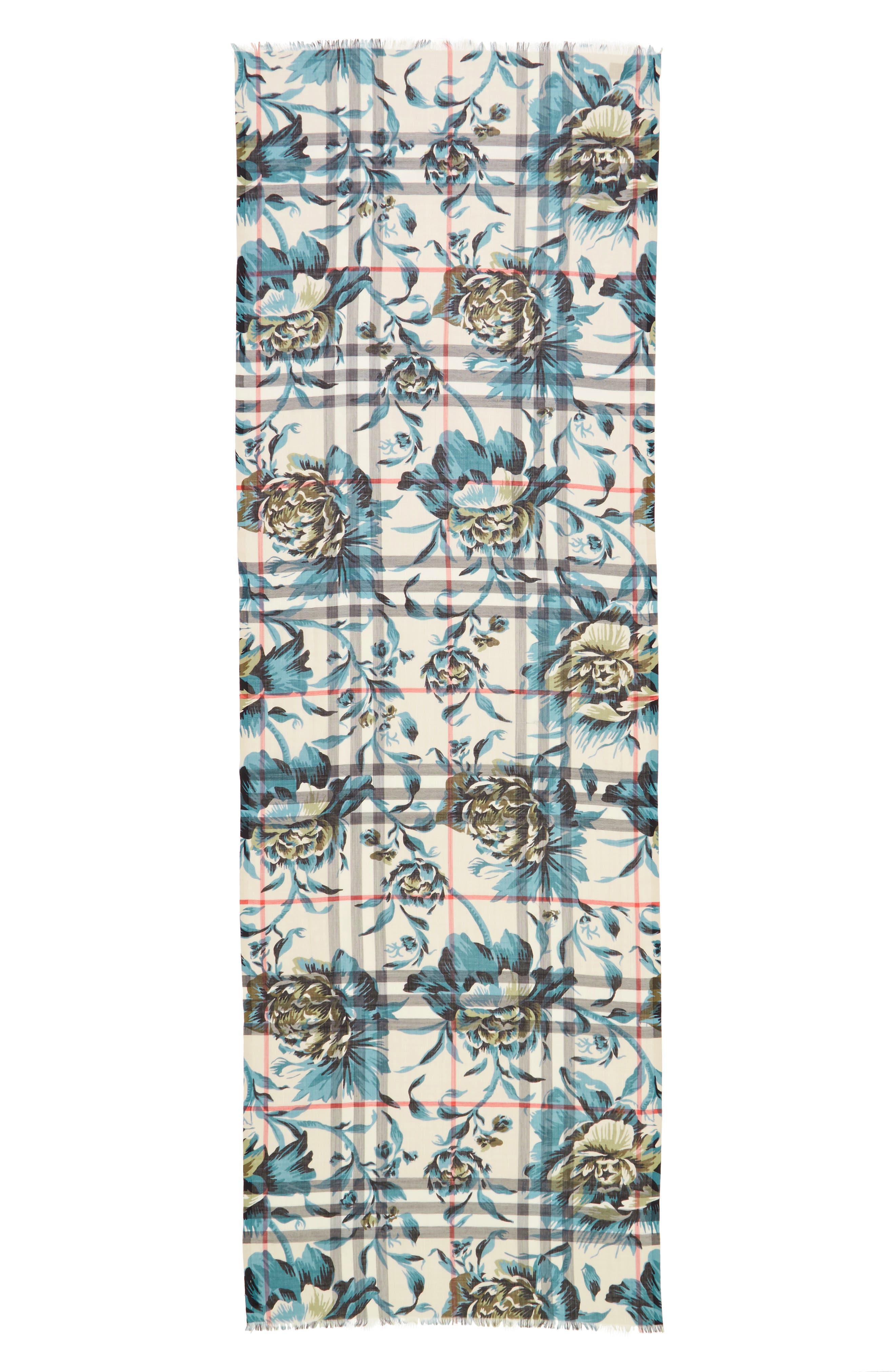 Alternate Image 1 Selected - Burberry Floral Print Wool & Silk Scarf