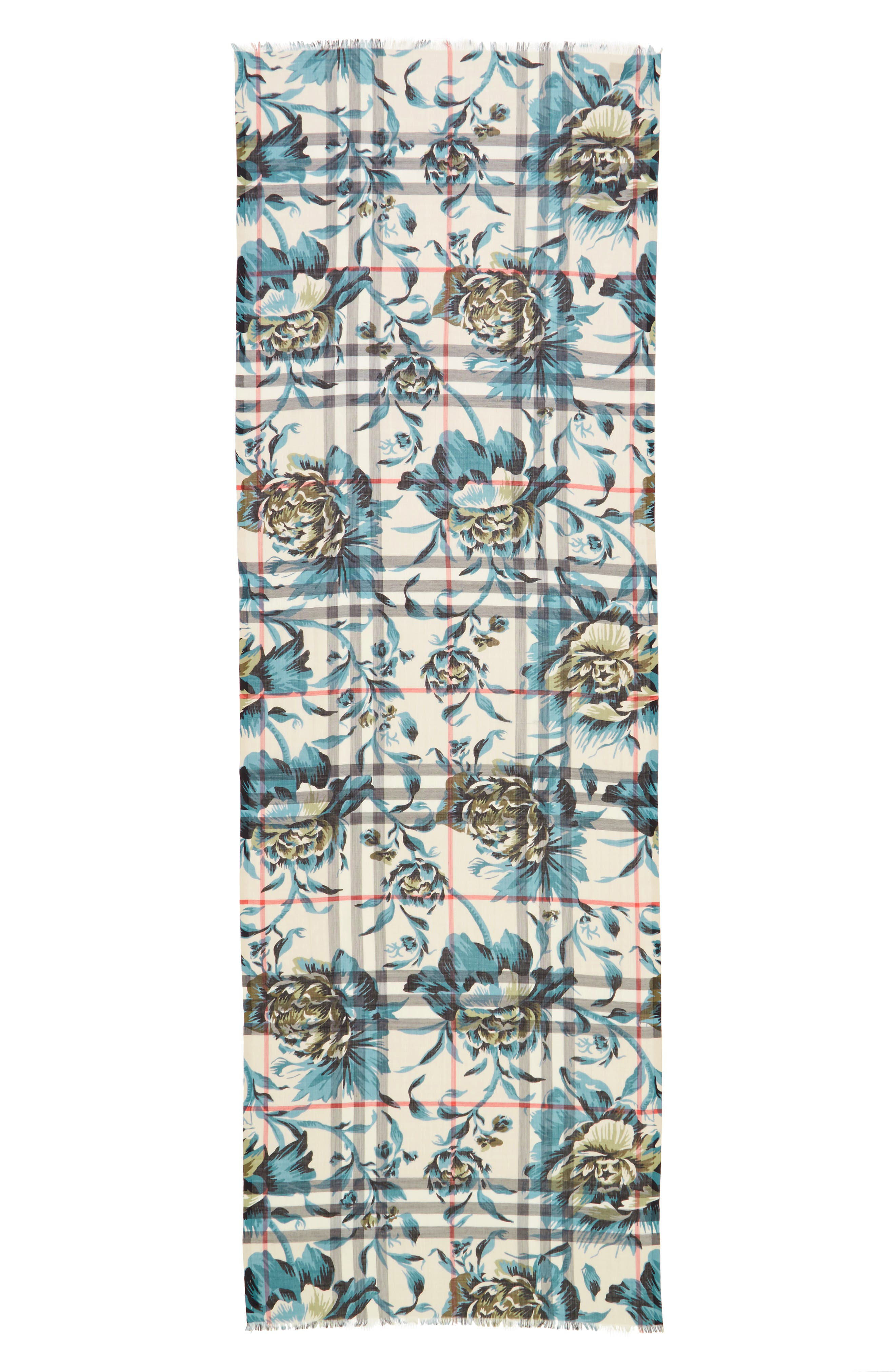 Main Image - Burberry Floral Print Wool & Silk Scarf