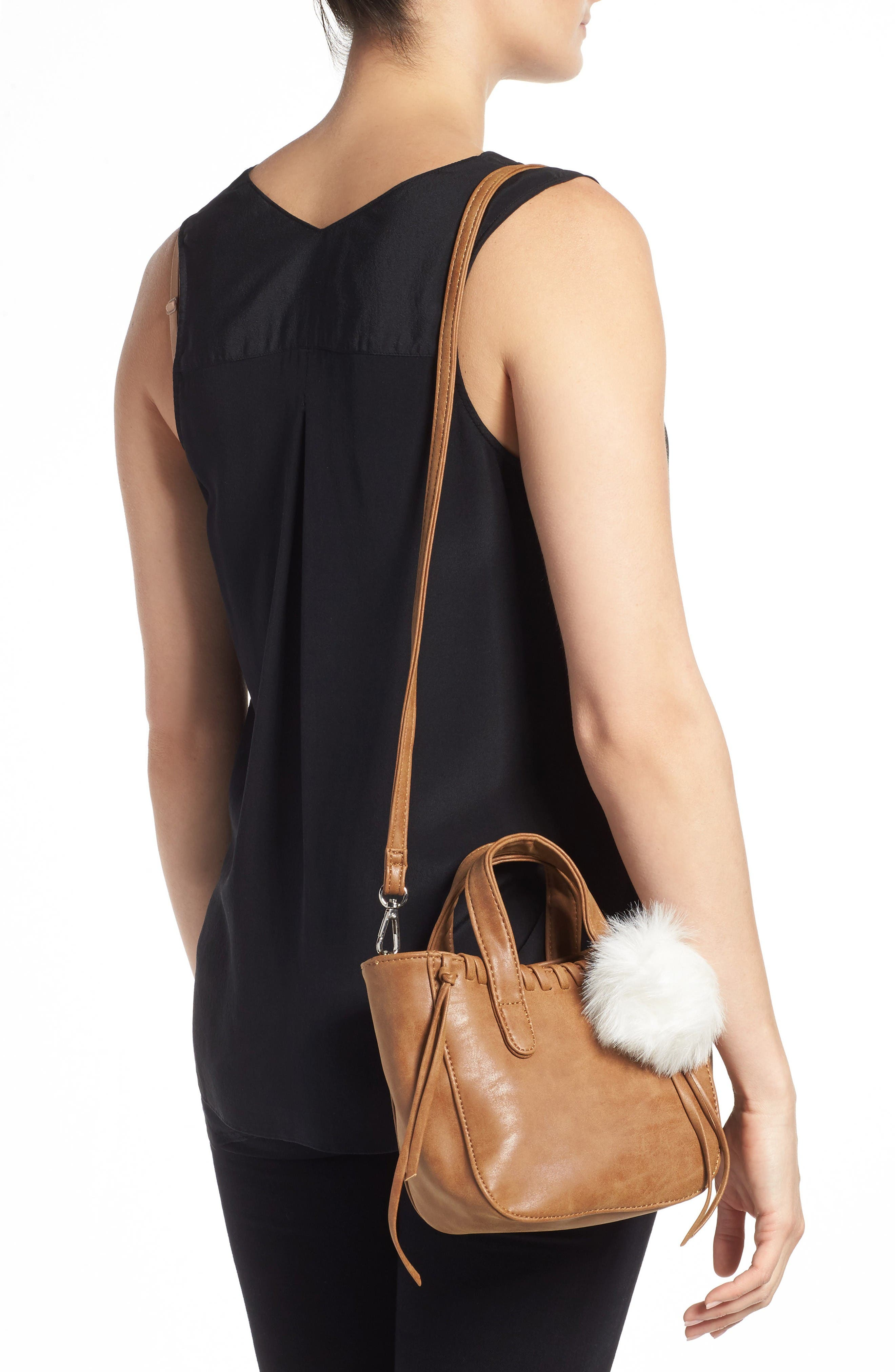 Alternate Image 2  - OMG Faux Leather Shoulder Bag with Faux Fur Bag Charm (Special Purchase)