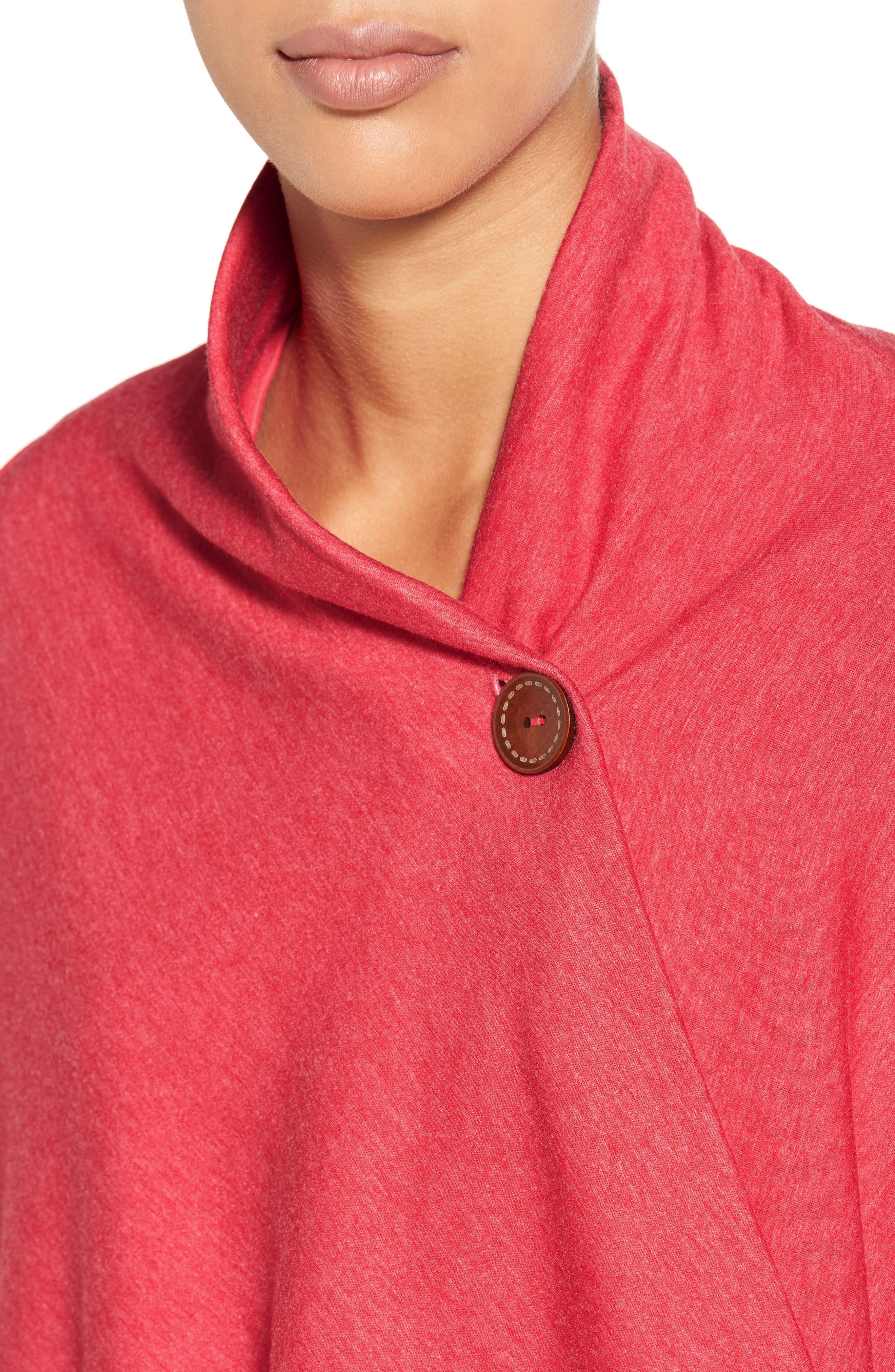 Alternate Image 4  - Bobeau One-Button Fleece Wrap Cardigan (Regular & Petite)