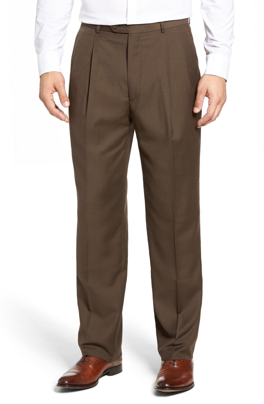 Alternate Image 1 Selected - Linea Naturale Pleated Microfiber Dress Pants