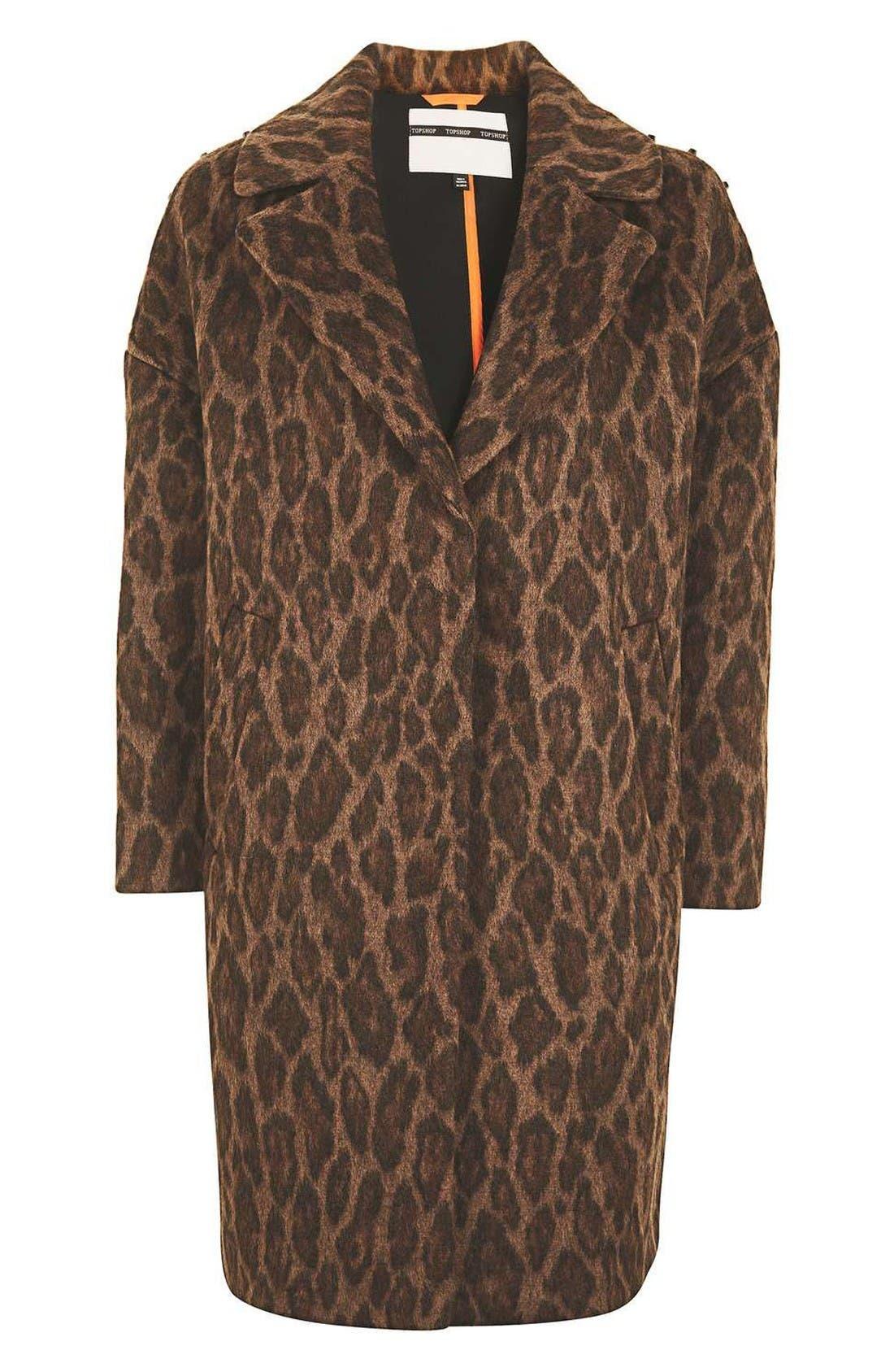 Alternate Image 4  - Topshop Stud Trim Leopard Print Coat