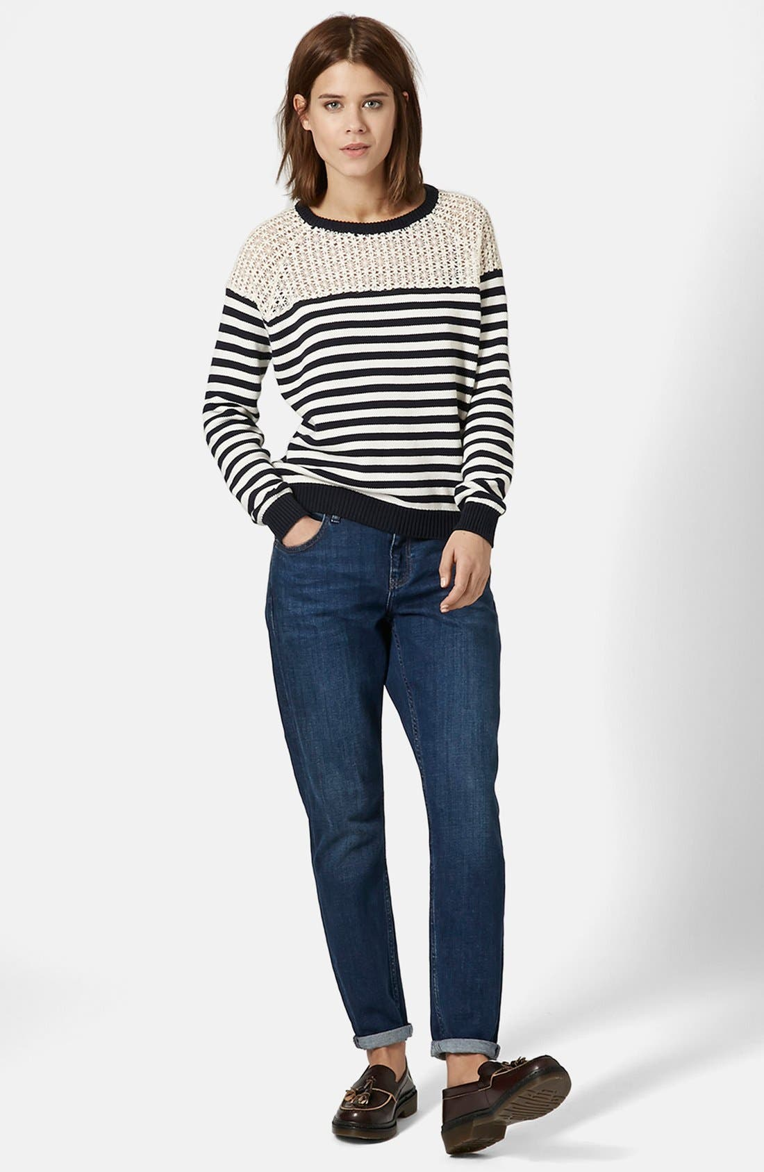Alternate Image 3  - Topshop Lace Stripe Sweater