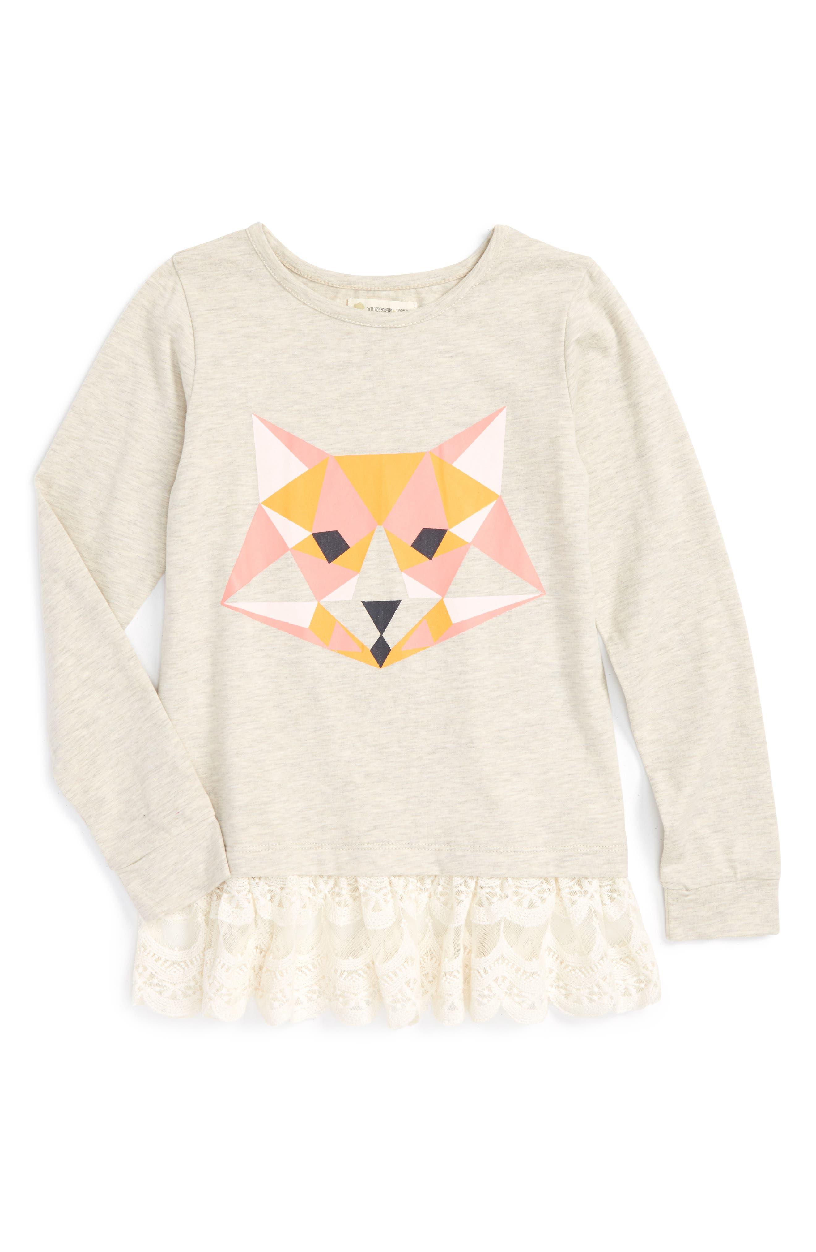 Main Image - Tucker + Tate 'Britton' Graphic Lace Hem Tunic (Toddler Girls, Little Girls & Big Girls)