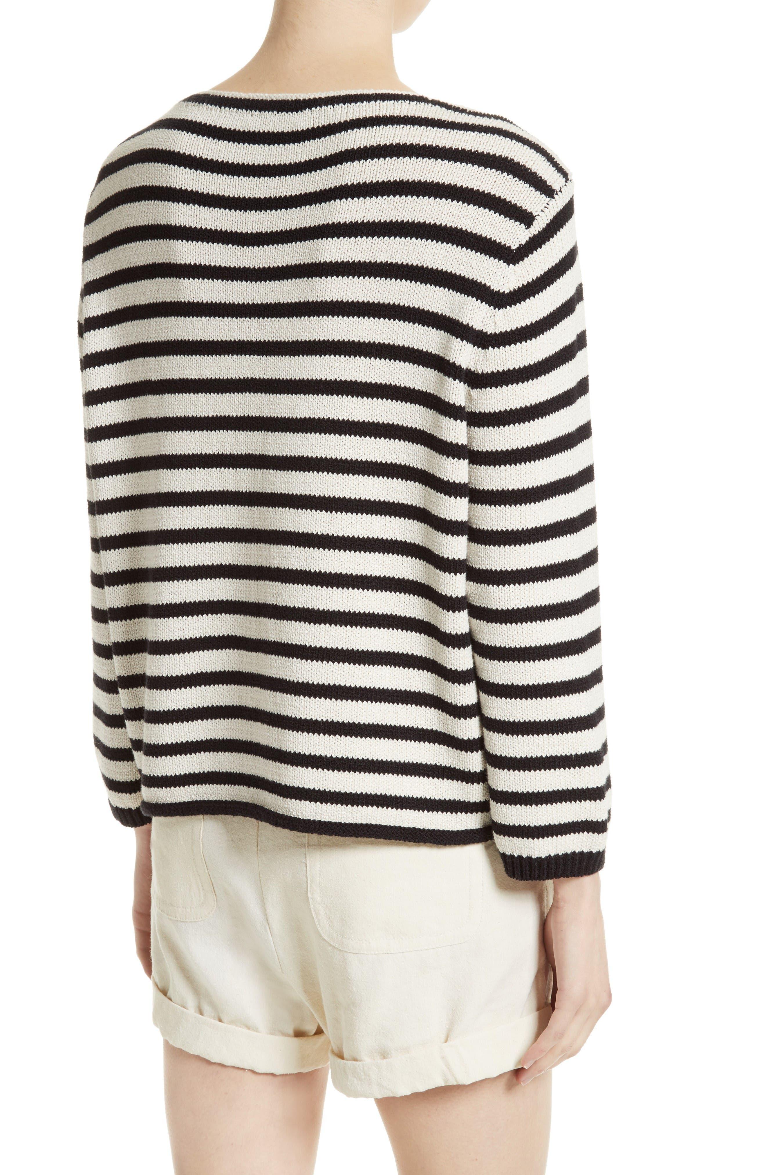 Alternate Image 2  - Vince Stripe Cotton Blend Pullover