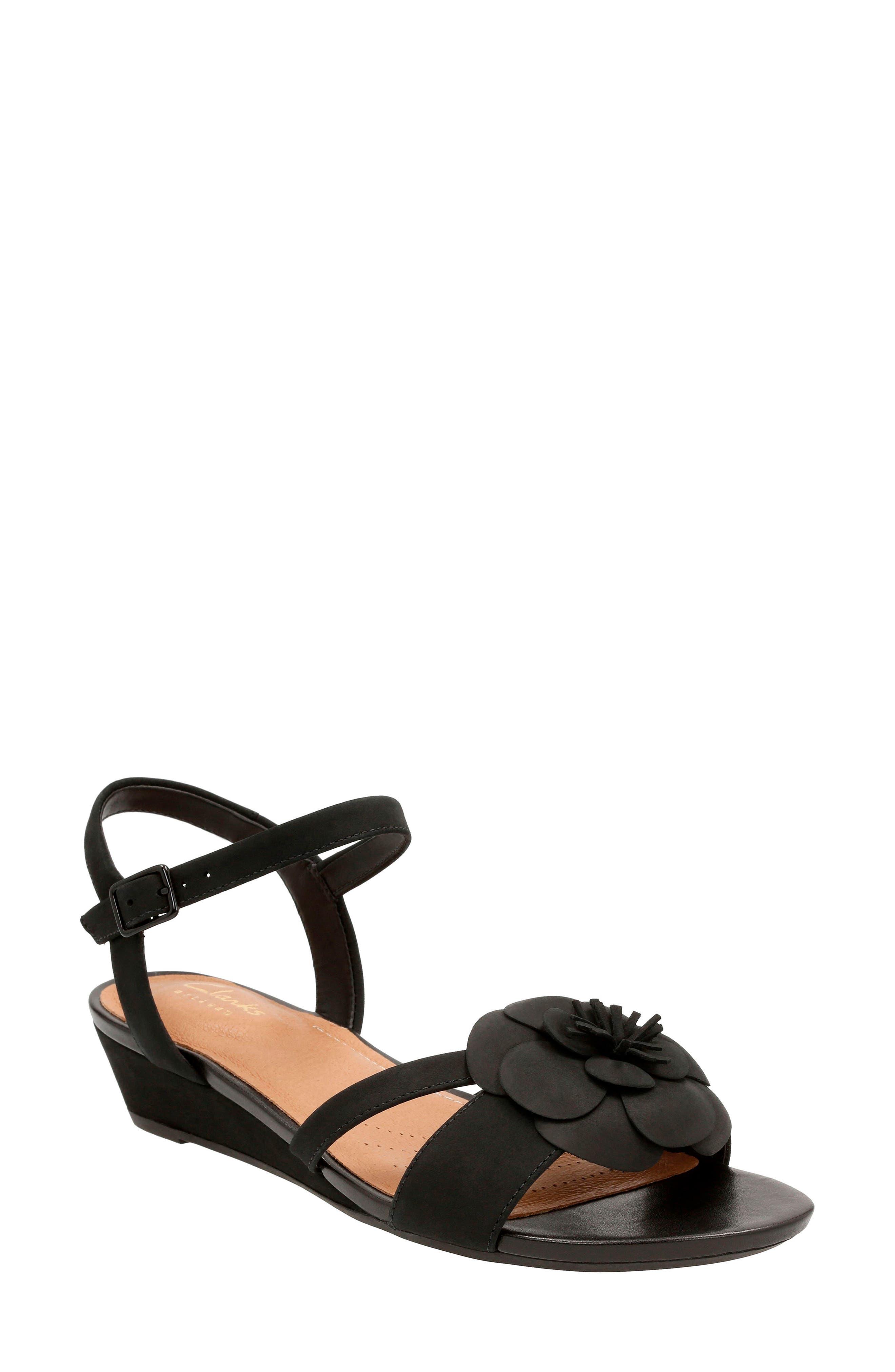 Clarks® Parram Stella Flower Wedge Sandal (Women)