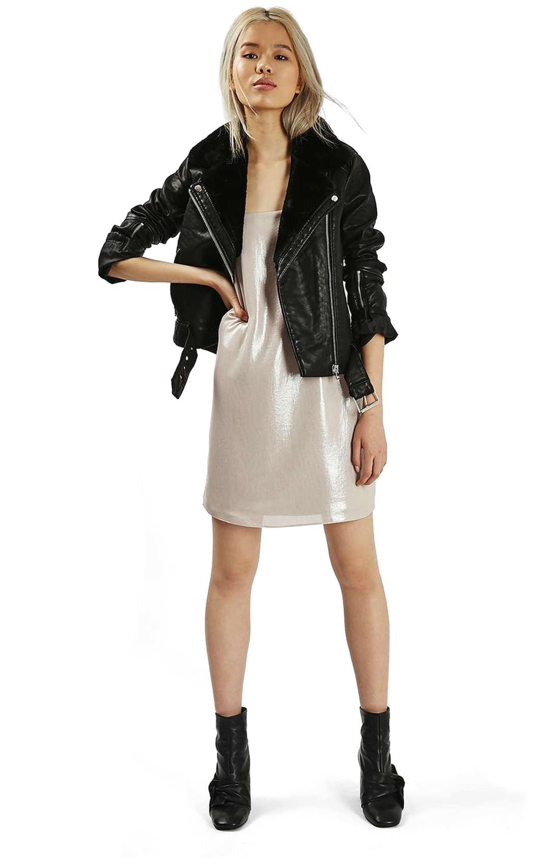 Alternate Image 2  - Topshop Vardy Faux Leather Biker Jacket
